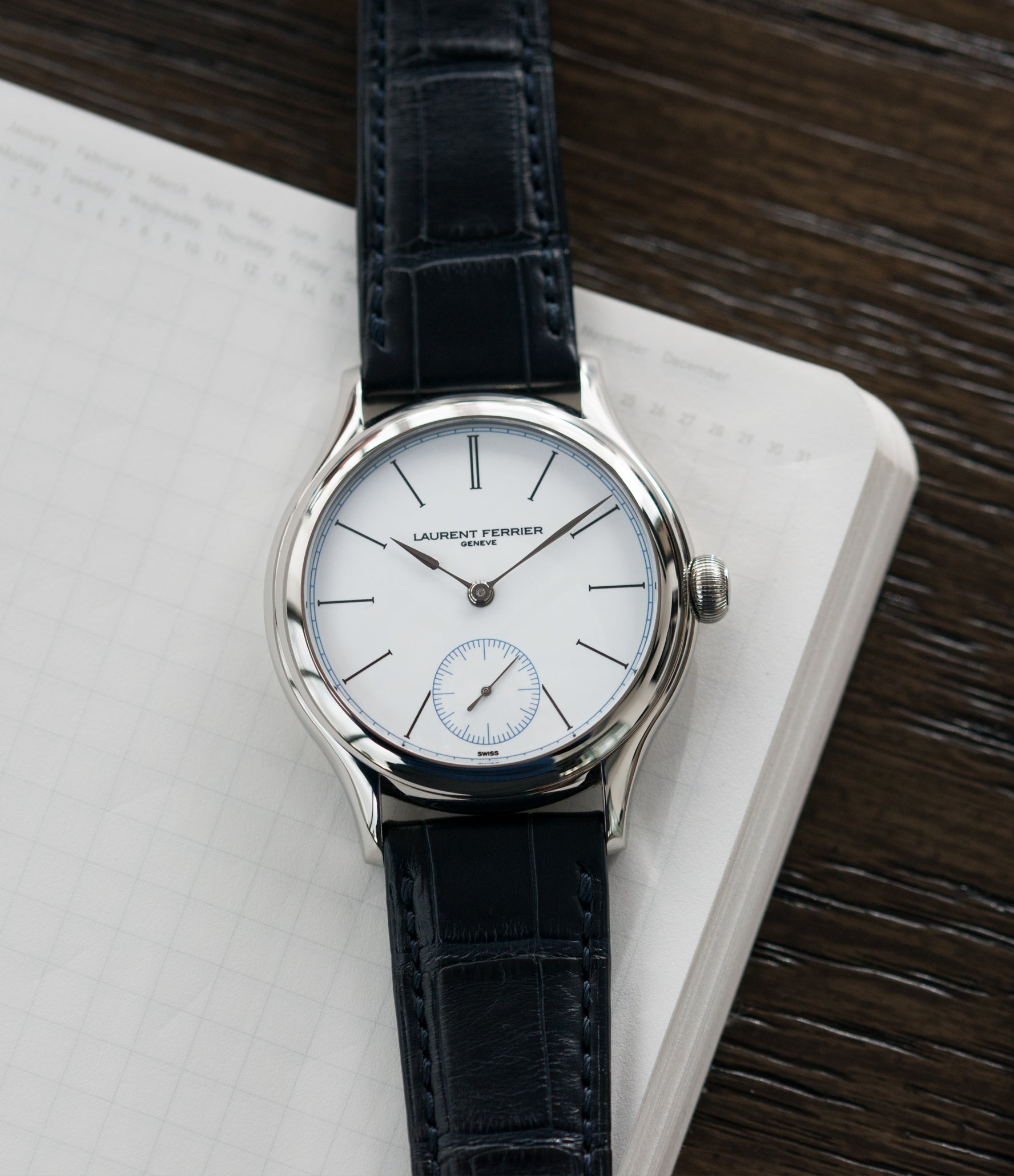 luxury rare dress watch Laurent Ferrier Galet Micro-Rotor FBN 230.02 Enamel dial steel watch for sale online at A Collected Man London UK approved seller of independent watchmaker Laurent Ferrier