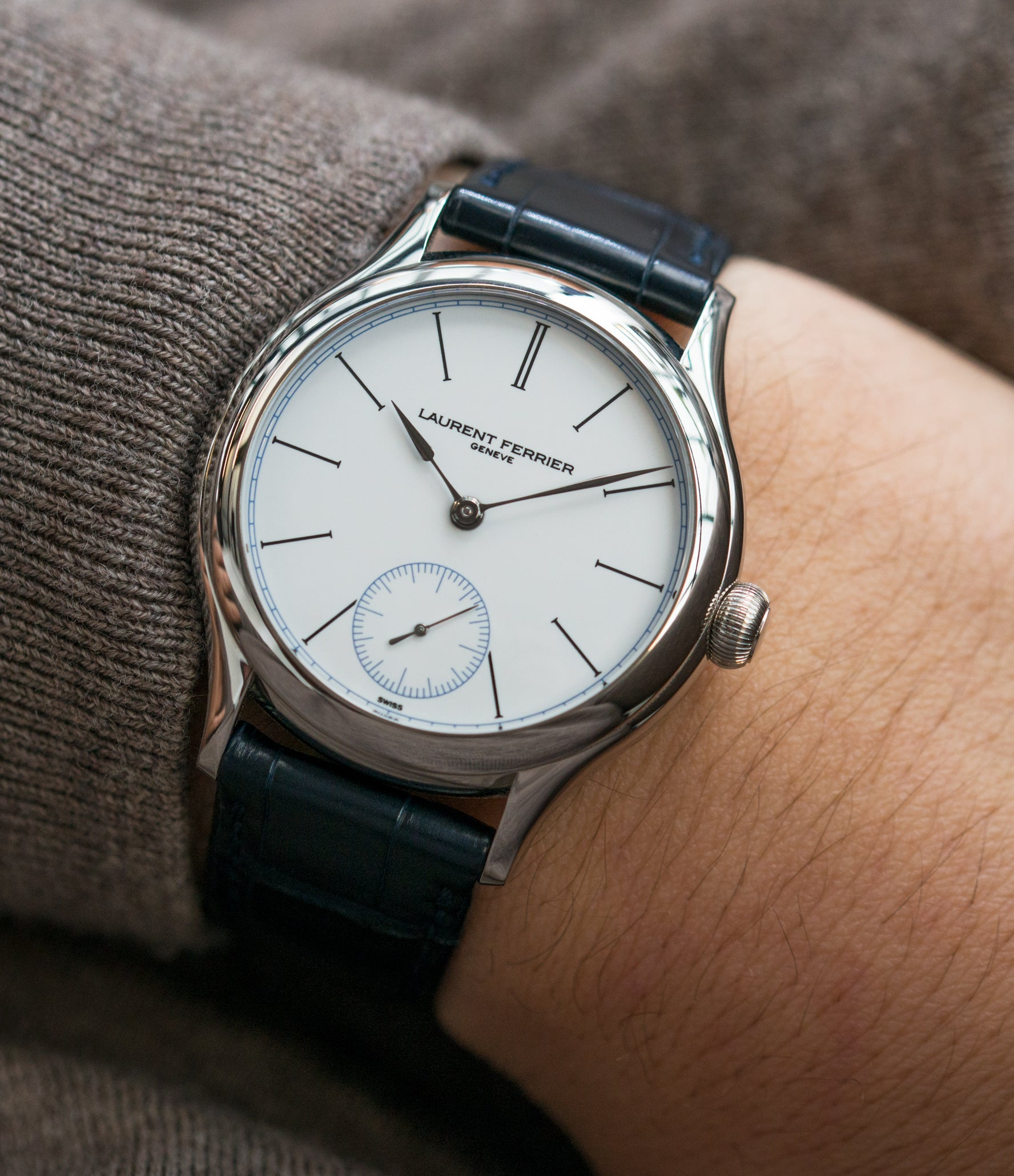 on the wrist Laurent Ferrier Galet Micro-Rotor FBN 230.02 Enamel dial steel watch for sale online at A Collected Man London UK approved seller of independent watchmaker Laurent Ferrier