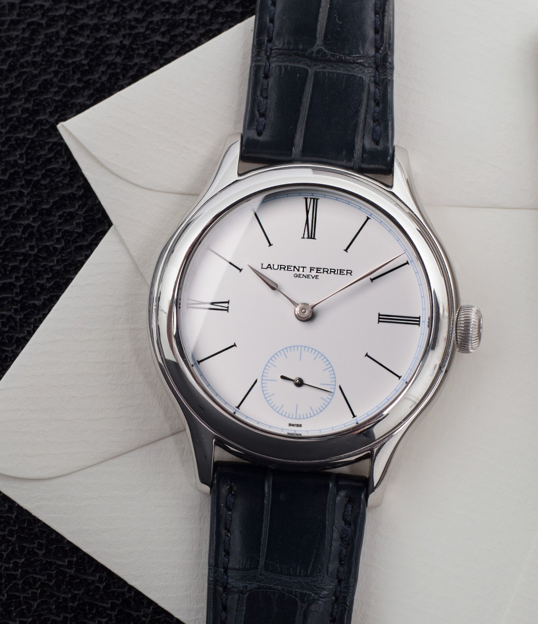 Grand Feu white enamel dial Laurent Ferrier Galet Micro-rotor LCF006 platinum limited edition watch for sale online at A Collected Man London specialist independent watchmakers