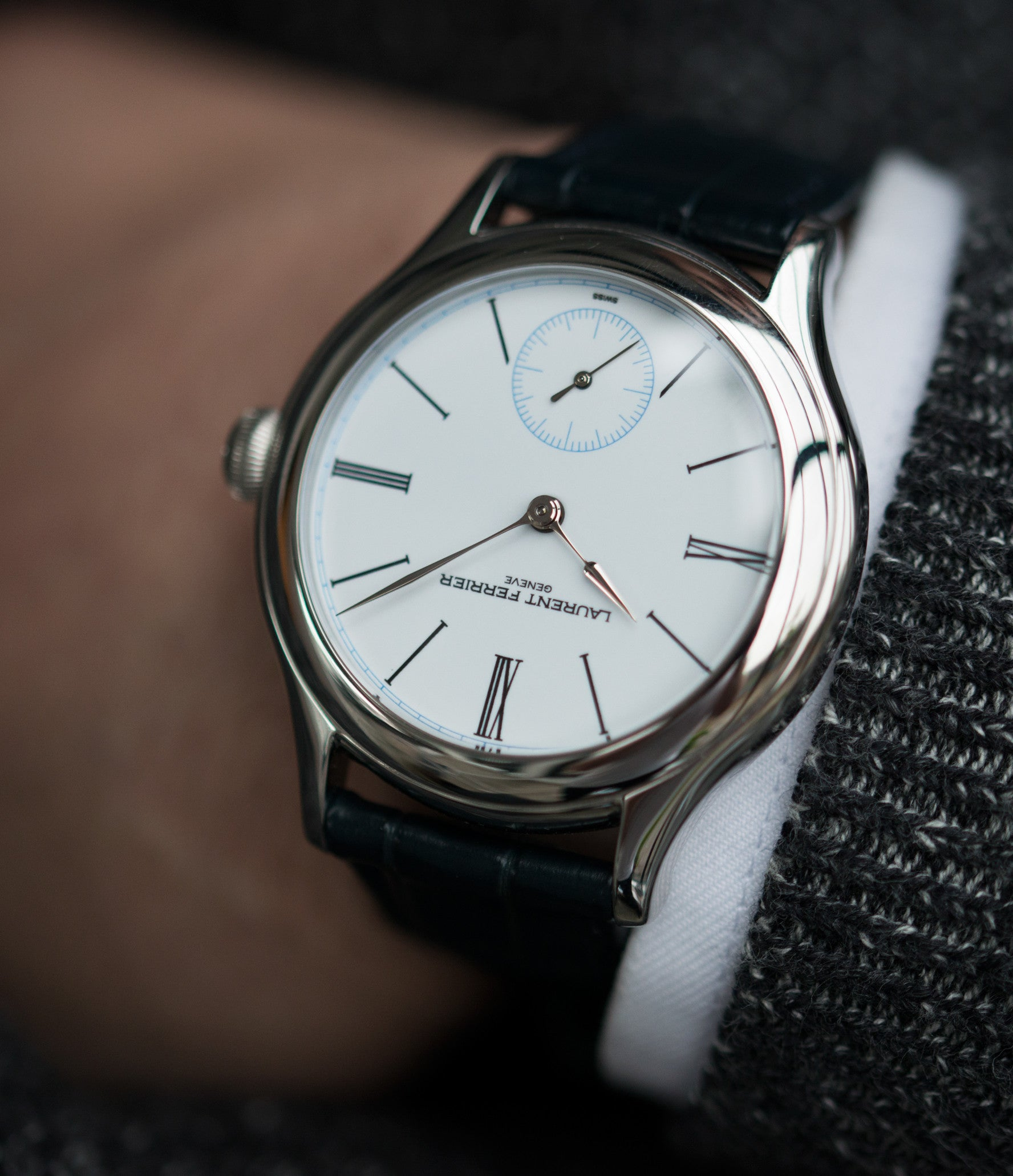 buy time-only dress watch Laurent Ferrier Galet Micro-rotor LCF006 platinum enamel dial limited edition watch for sale online at A Collected Man London specialist independent watchmakers