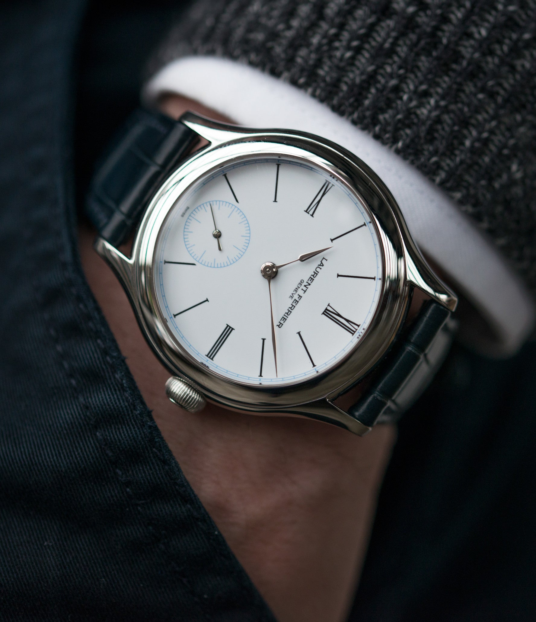 buy platinum wristwatch Laurent Ferrier Galet Micro-rotor LCF006 enamel dial limited edition watch for sale online at A Collected Man London specialist independent watchmakers
