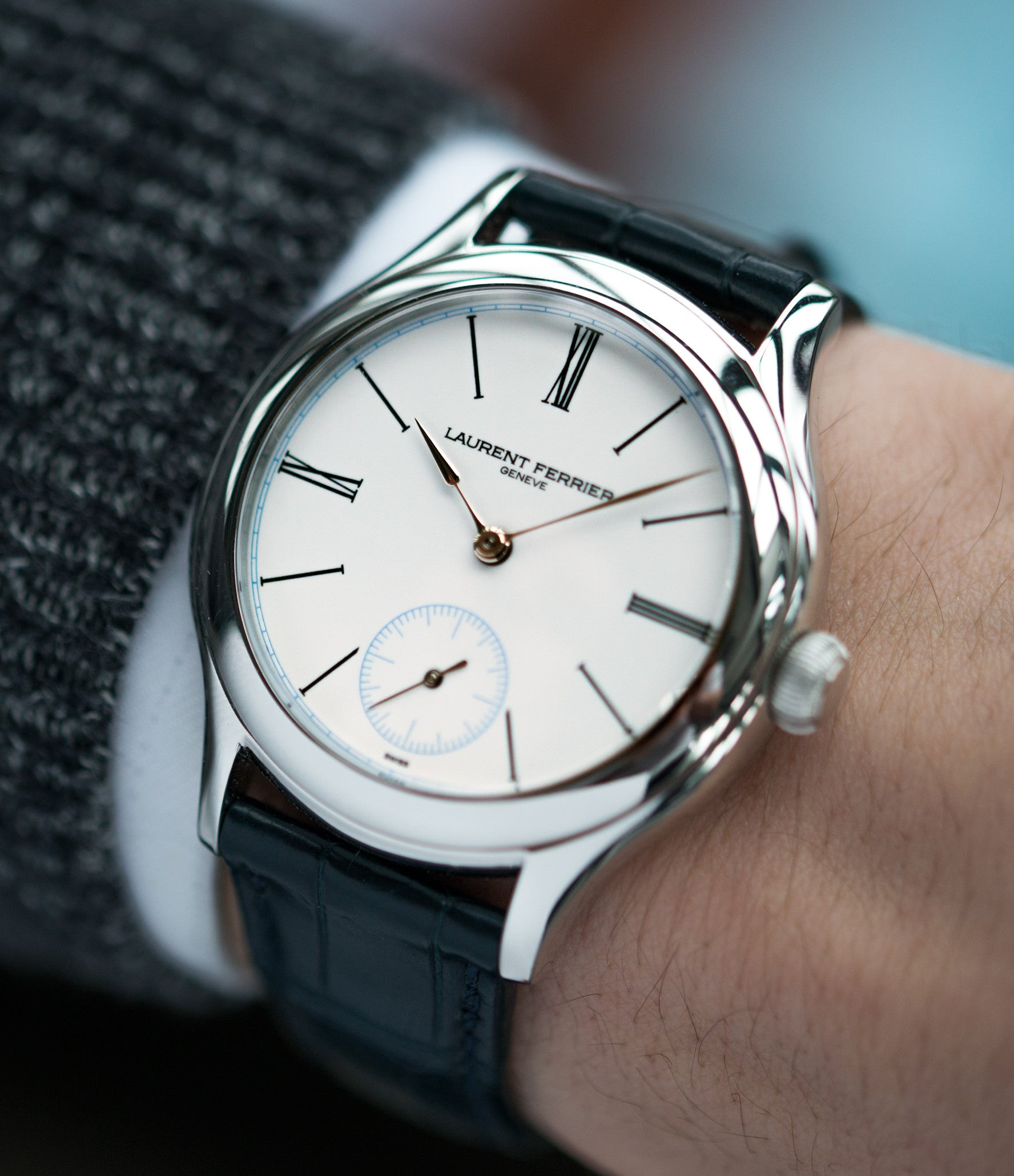 on the wrist Laurent Ferrier Galet Micro-rotor LCF006 platinum enamel dial limited edition watch for sale online at A Collected Man London specialist independent watchmakers