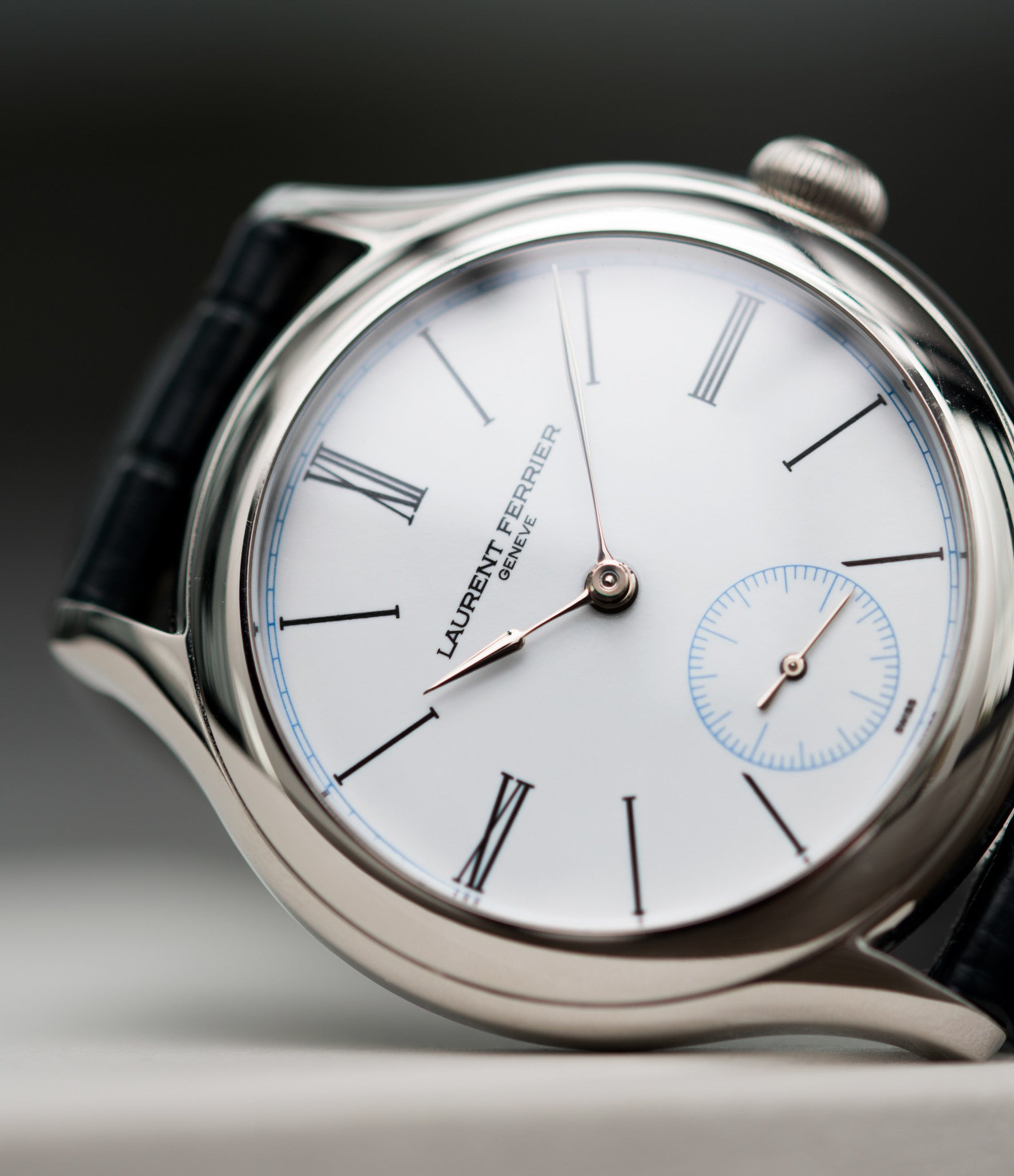white enamel dial Laurent Ferrier Galet Micro-rotor LCF006 platinum enamel dial limited edition watch for sale online at A Collected Man London specialist independent watchmakers