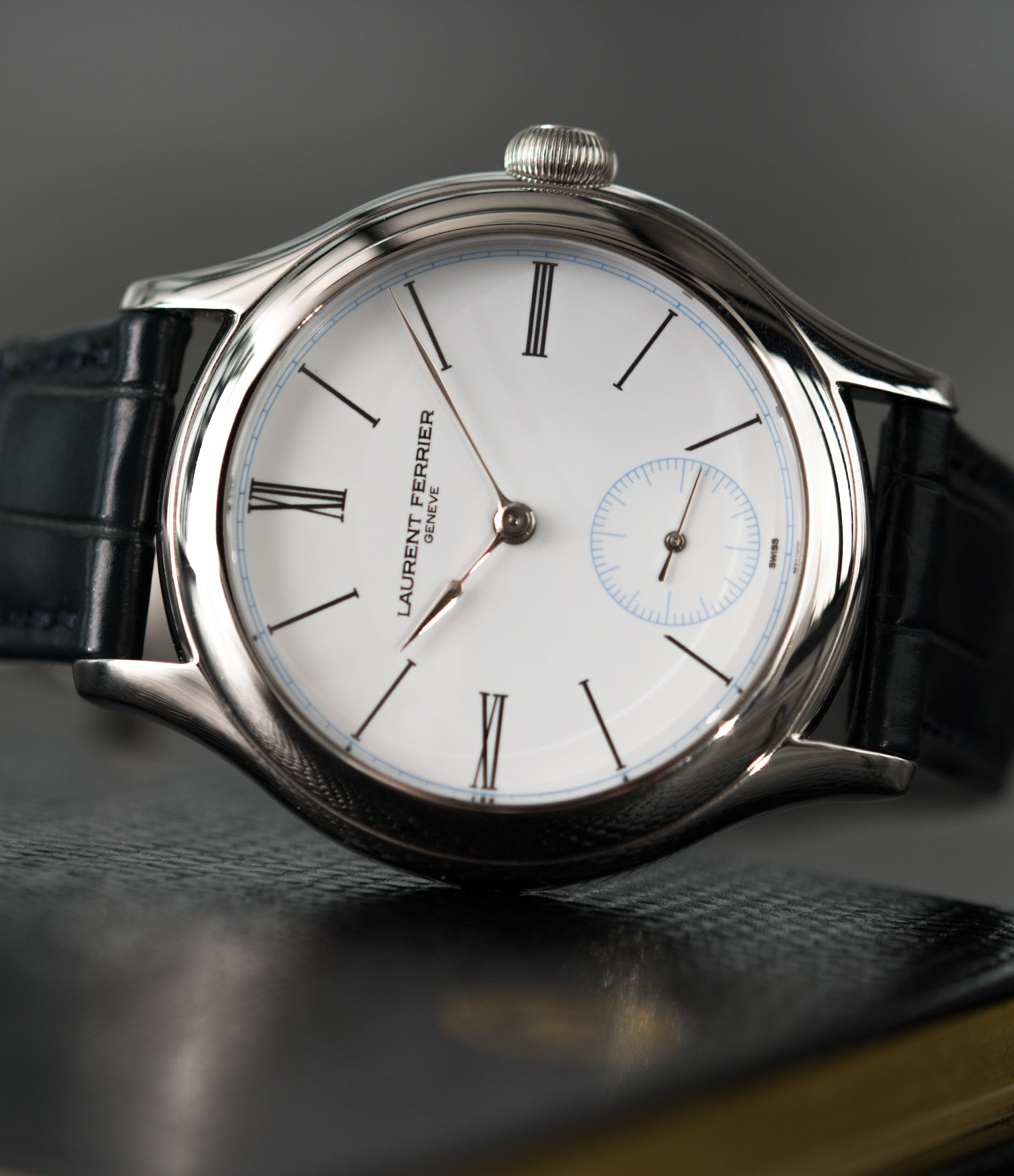 selling platinum Laurent Ferrier Galet Micro-rotor LCF006 white enamel dial limited edition watch for sale online at A Collected Man London specialist independent watchmakers