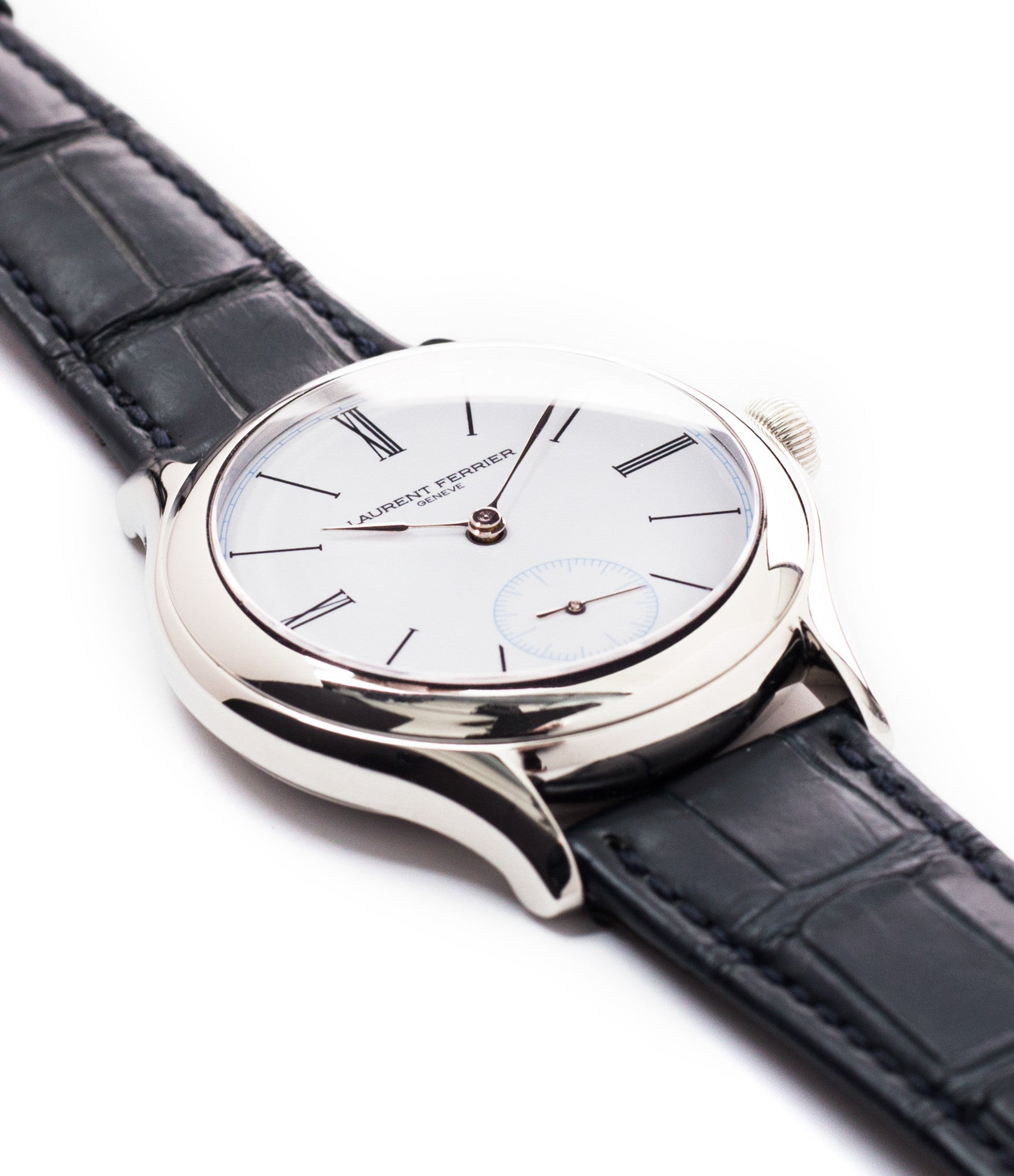 platinum Laurent Ferrier Galet Micro-rotor LCF006 enamel dial limited edition watch for sale online at A Collected Man London specialist independent watchmakers