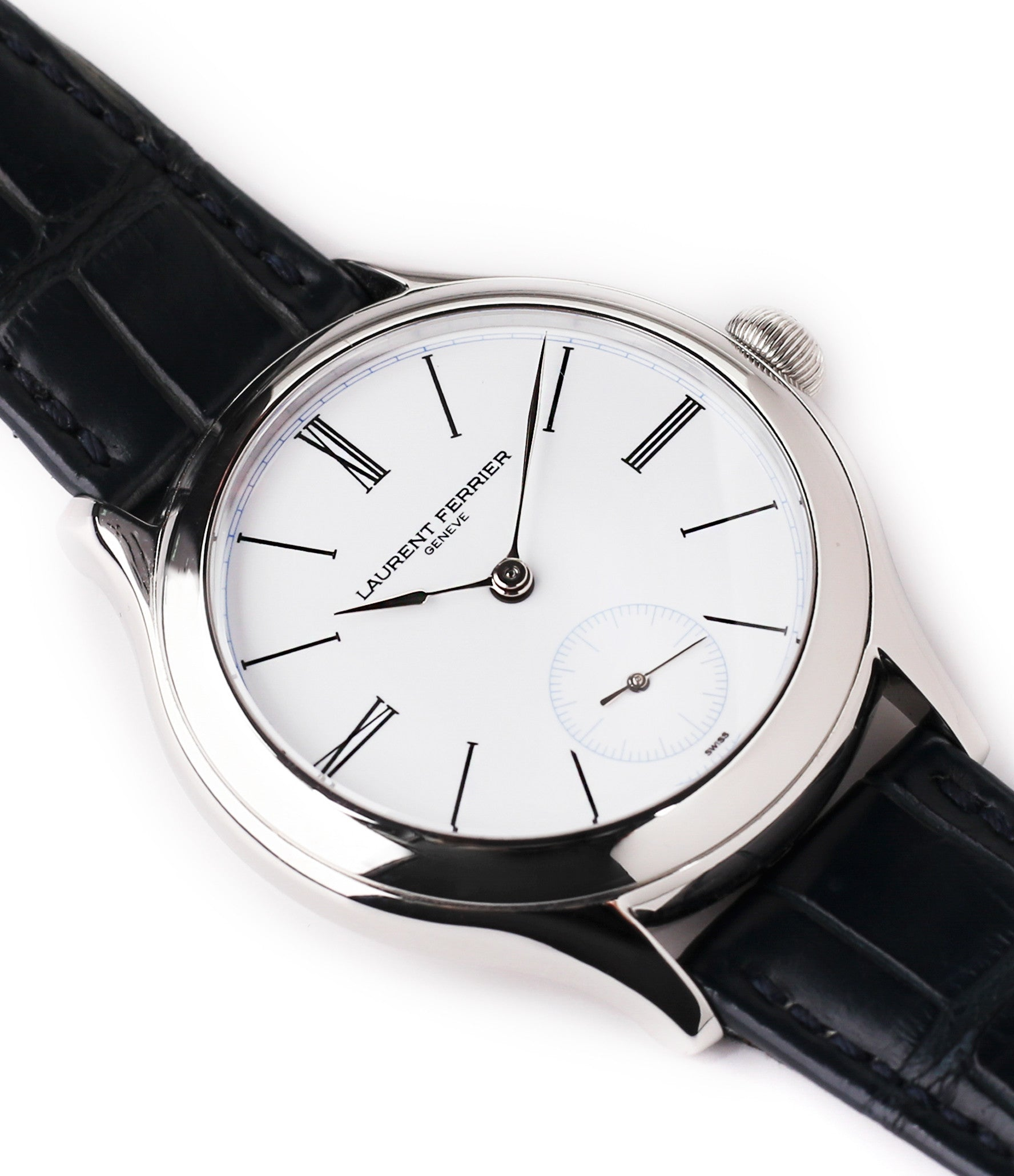 selling Laurent Ferrier Galet Micro-rotor LCF006 platinum enamel dial limited edition watch for sale online at A Collected Man London specialist independent watchmakers