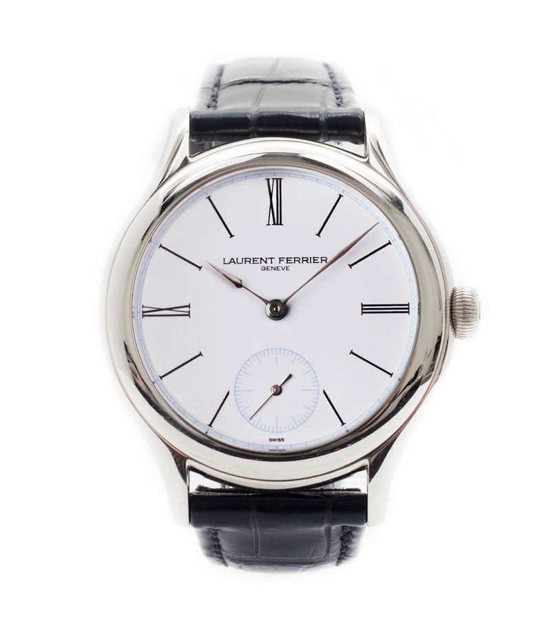 buy Laurent Ferrier Galet Micro-rotor LCF006 platinum enamel dial limited edition watch for sale online at A Collected Man London specialist independent watchmakers