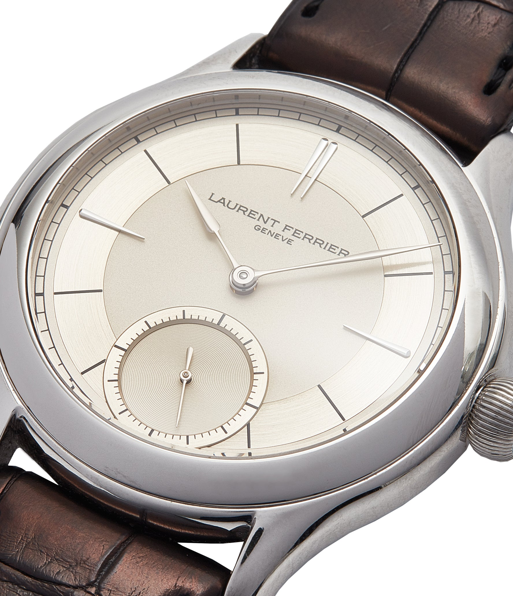 piece unique Laurent Ferrier Galet Micro-rotor 40 mm platinum time-only dress watch from independent watchmaker for sale online at A Collected Man London UK specialist of rare watches