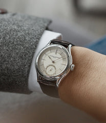 on the wrist Laurent Ferrier Galet Micro-rotor 40 mm platinum time-only dress watch from independent watchmaker for sale online at A Collected Man London UK specialist of rare watches