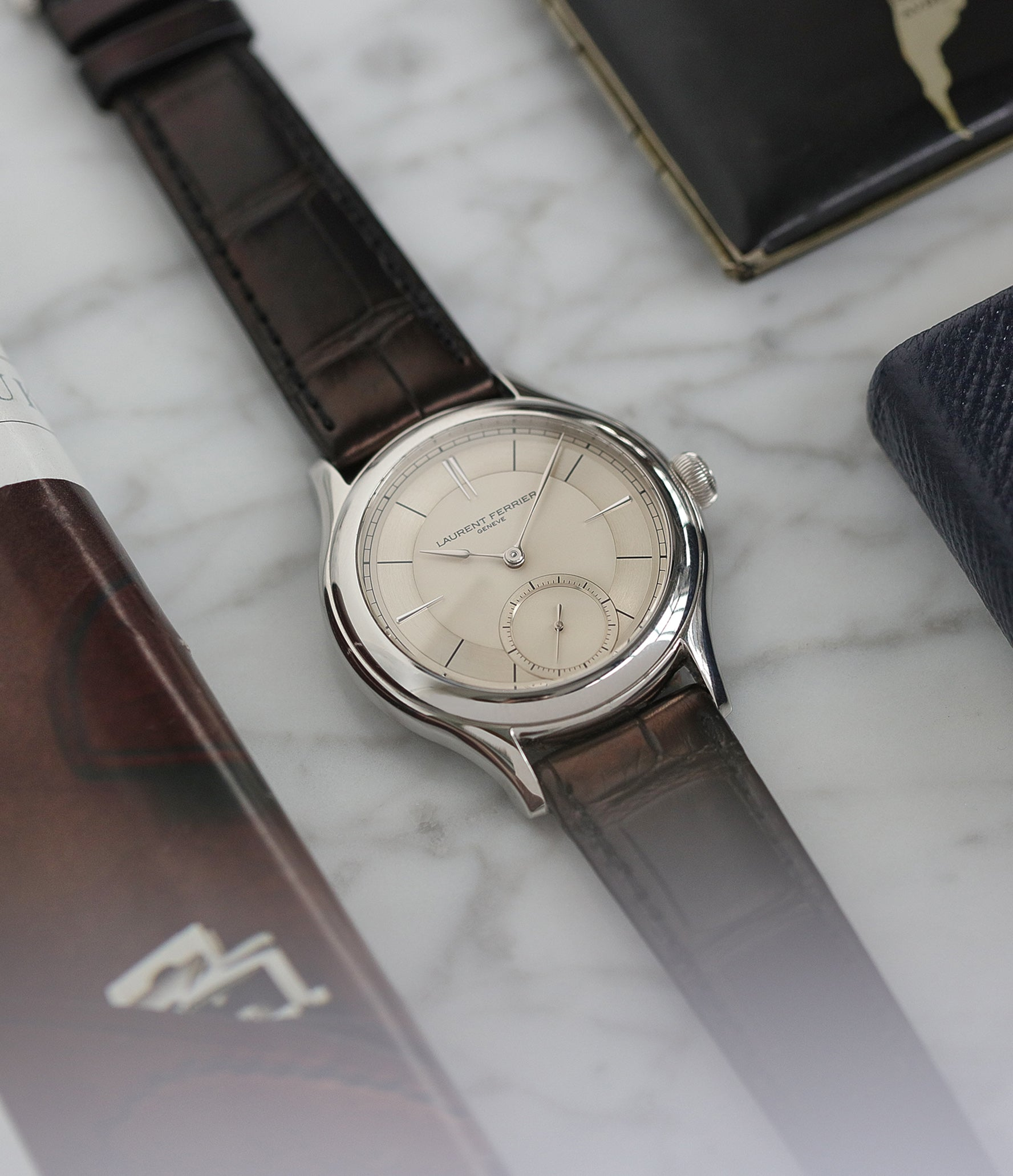 modern luxury watch Laurent Ferrier Galet Micro-rotor 40 mm platinum time-only dress watch from independent watchmaker for sale online at A Collected Man London UK specialist of rare watches