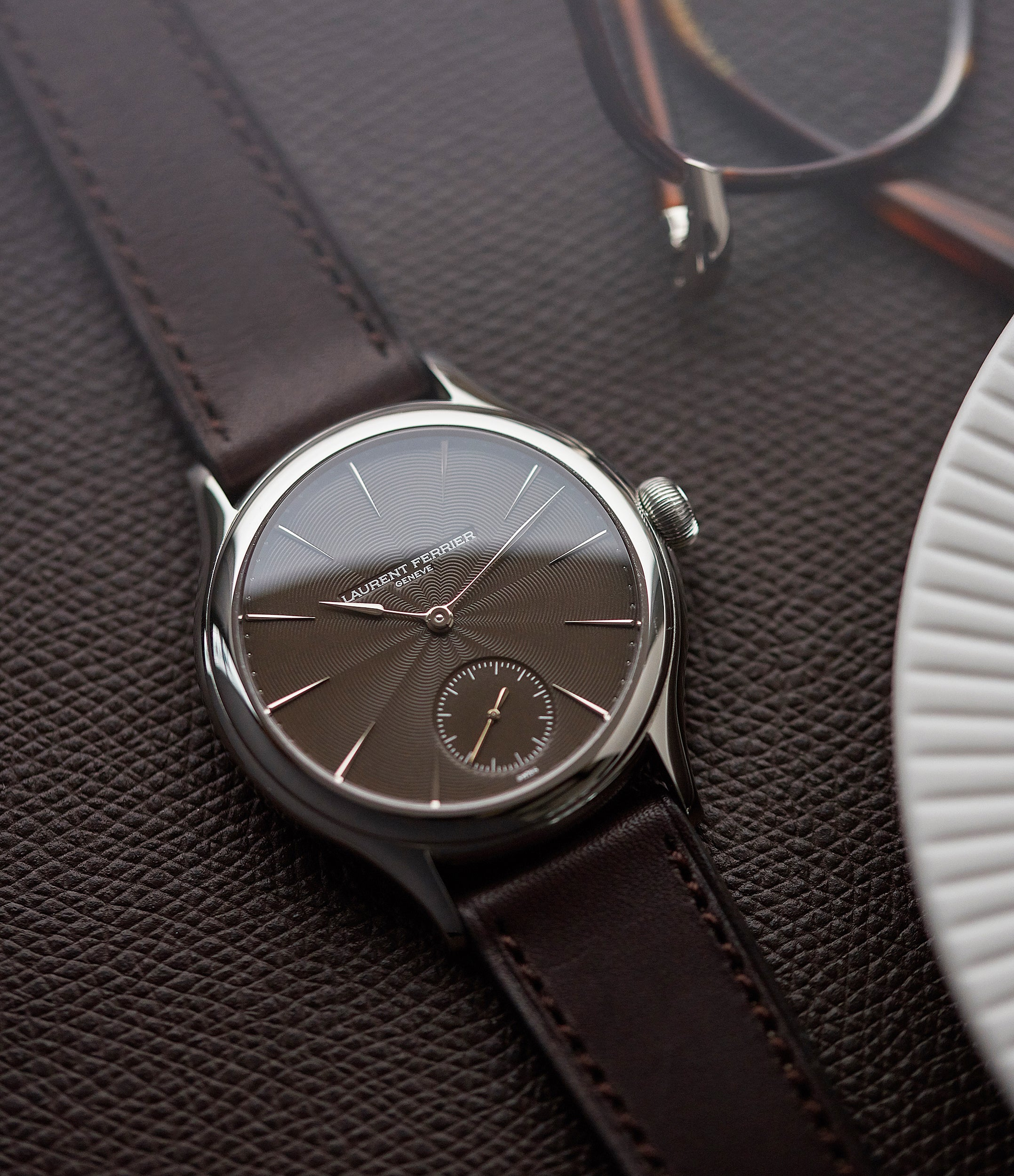 "selling Laurent Ferrier Prototype Galet Micro-rotor LF 229.01 ""Only Watch 2011"" steel watch brown dial for sale online at A Collected Man London UK approved seller of independent watchmakers"
