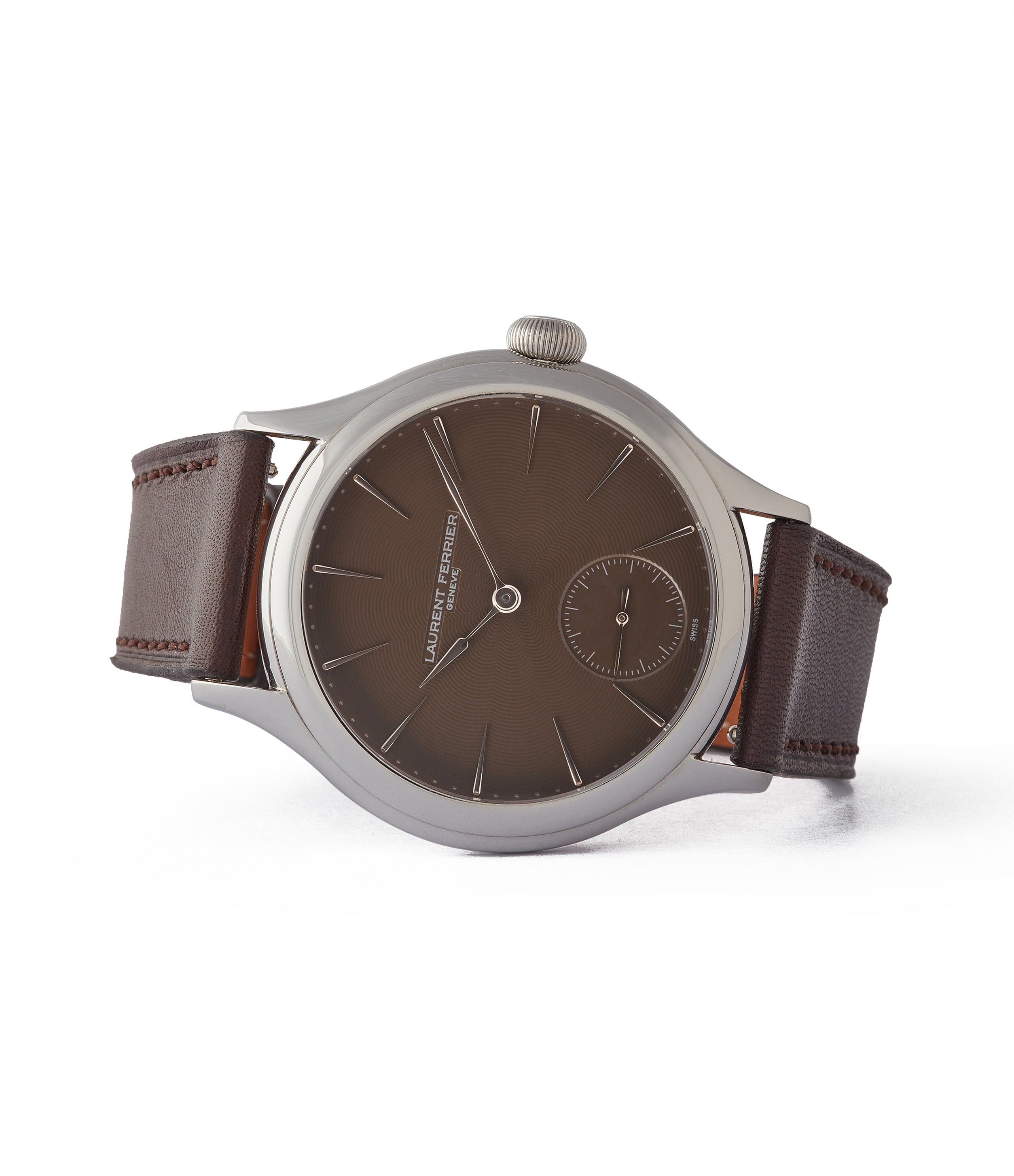 "side-shot prototoype Galet Laurent Ferrier Micro-rotor LF 229.01 ""Only Watch 2011"" steel watch brown dial for sale online at A Collected Man London UK approved seller of independent watchmakers"