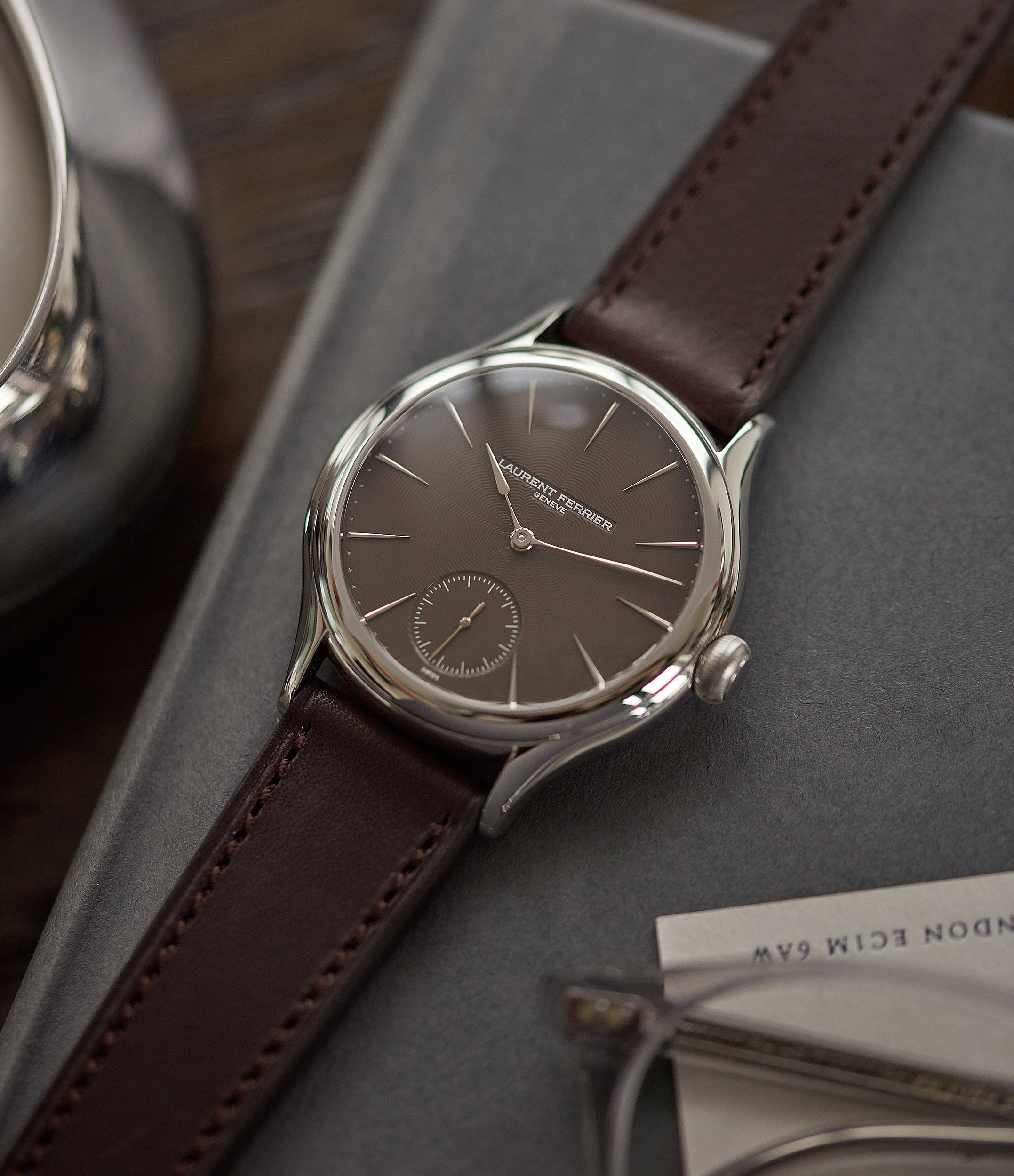 "one-of-a-kind Laurent Ferrier Prototype Galet Micro-rotor LF 229.01 ""Only Watch 2011"" steel watch brown dial for sale online at A Collected Man London UK approved seller of independent watchmakers"