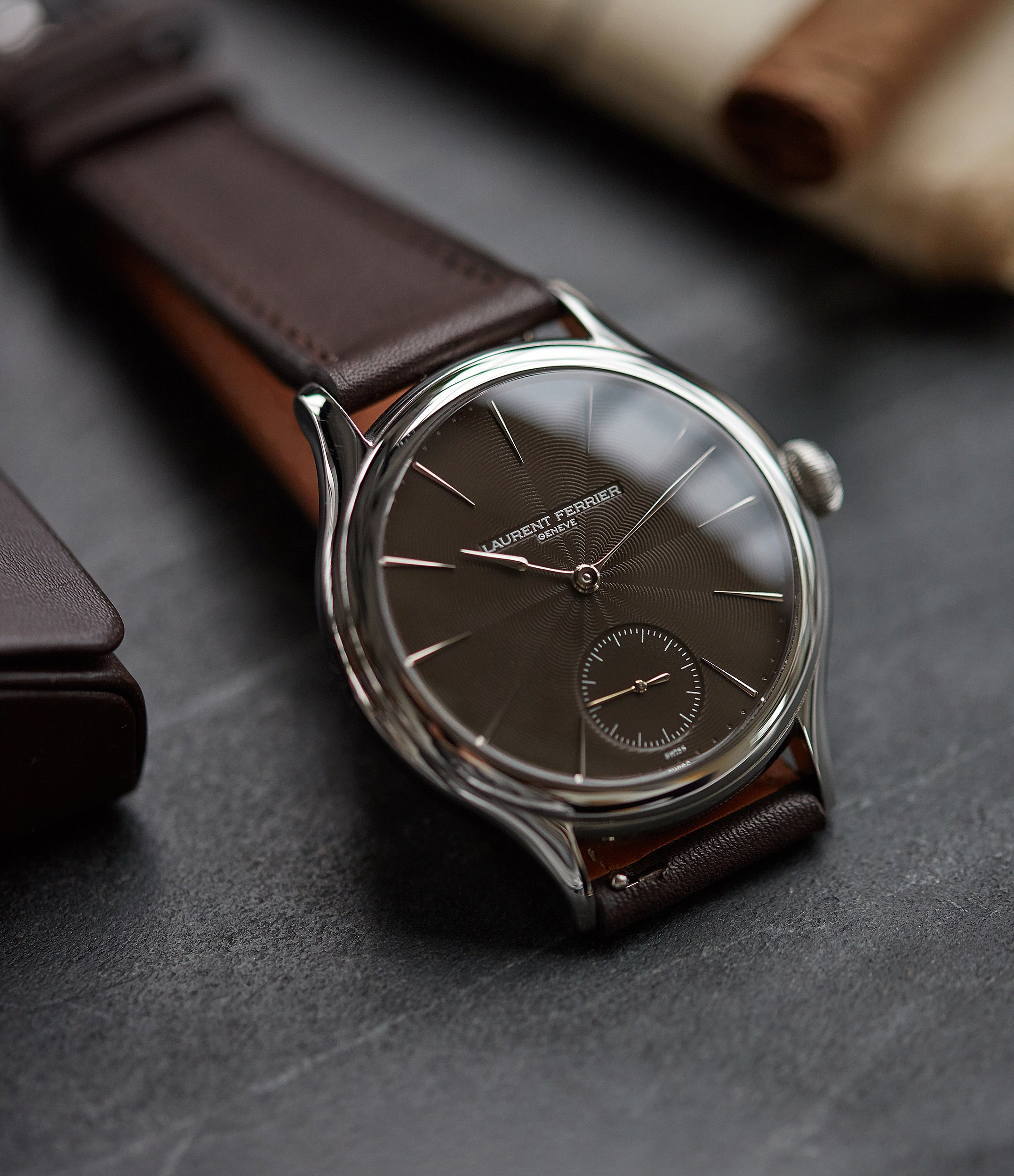 "rare Laurent Ferrier Prototype Galet Micro-rotor LF 229.01 ""Only Watch 2011"" steel watch brown dial for sale online at A Collected Man London UK approved seller of independent watchmakers"