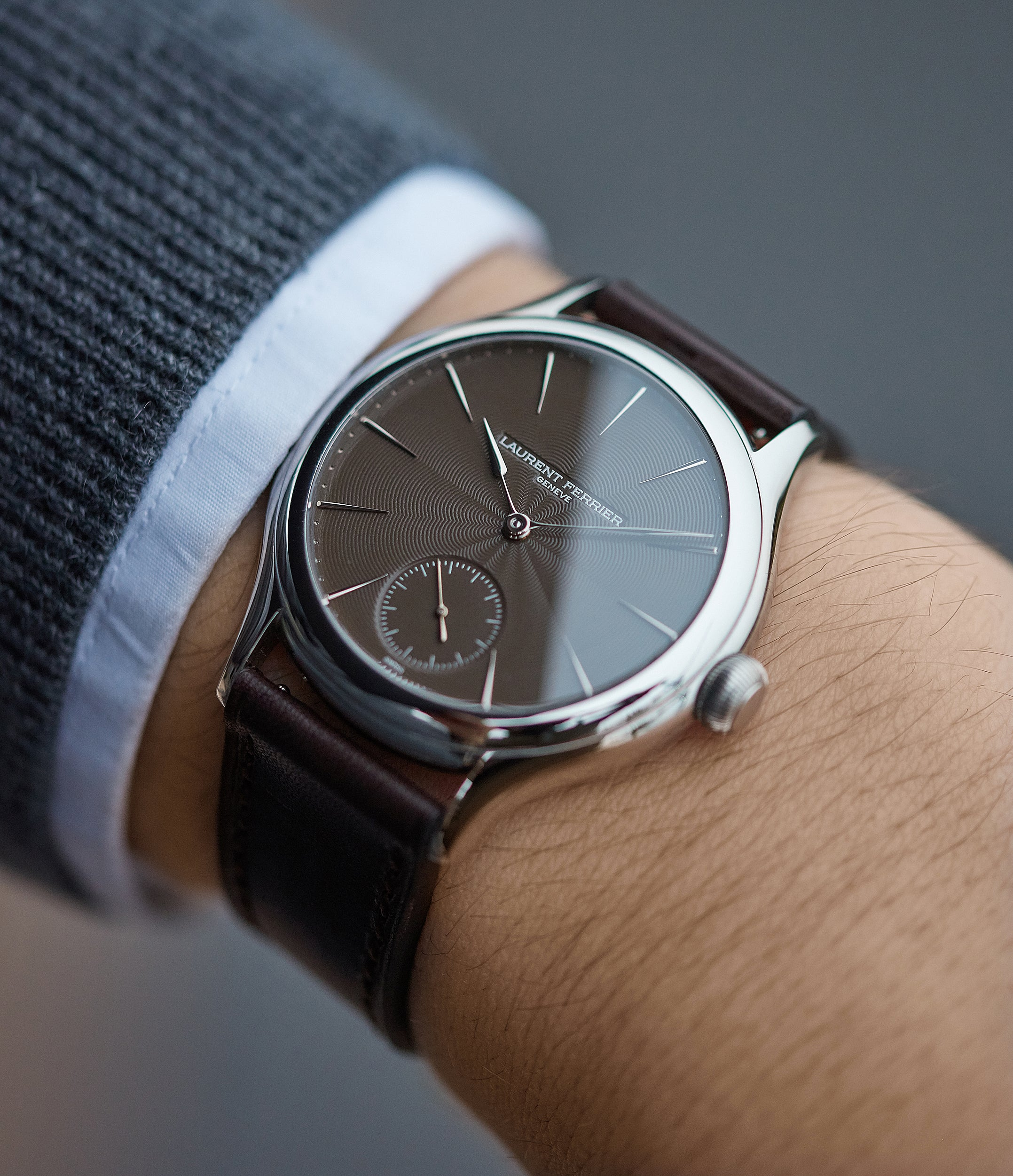 "Prototype Laurent Ferrier Galet Micro-rotor LF 229.01 ""Only Watch 2011"" steel watch brown dial for sale online at A Collected Man London UK approved seller of independent watchmakers"