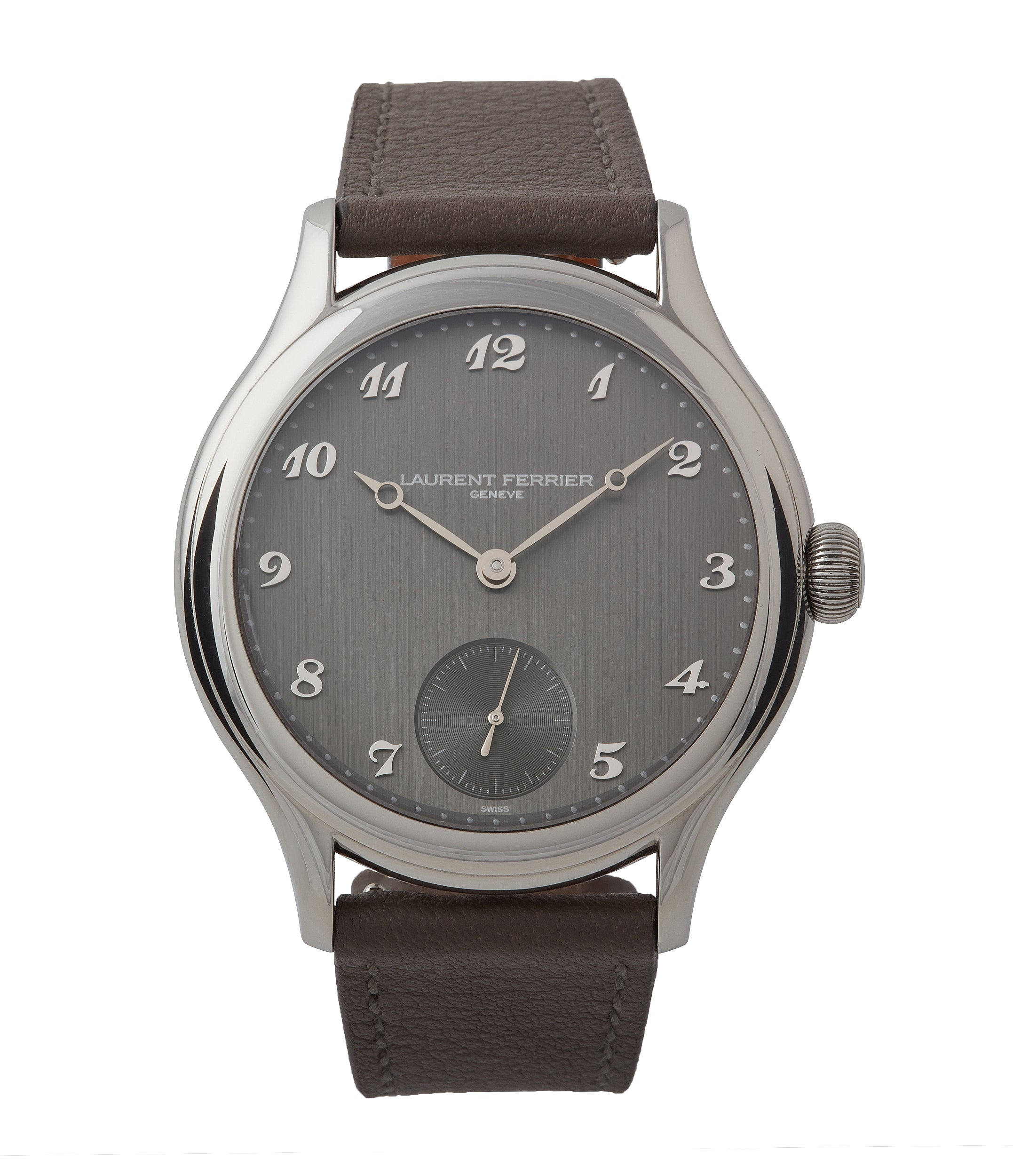 buy Laurent Ferrier Galet Micro-rotor steel grey brushed dial time-only dress watch for sale online at A Collected Man London UK specialist of independent watchmakers