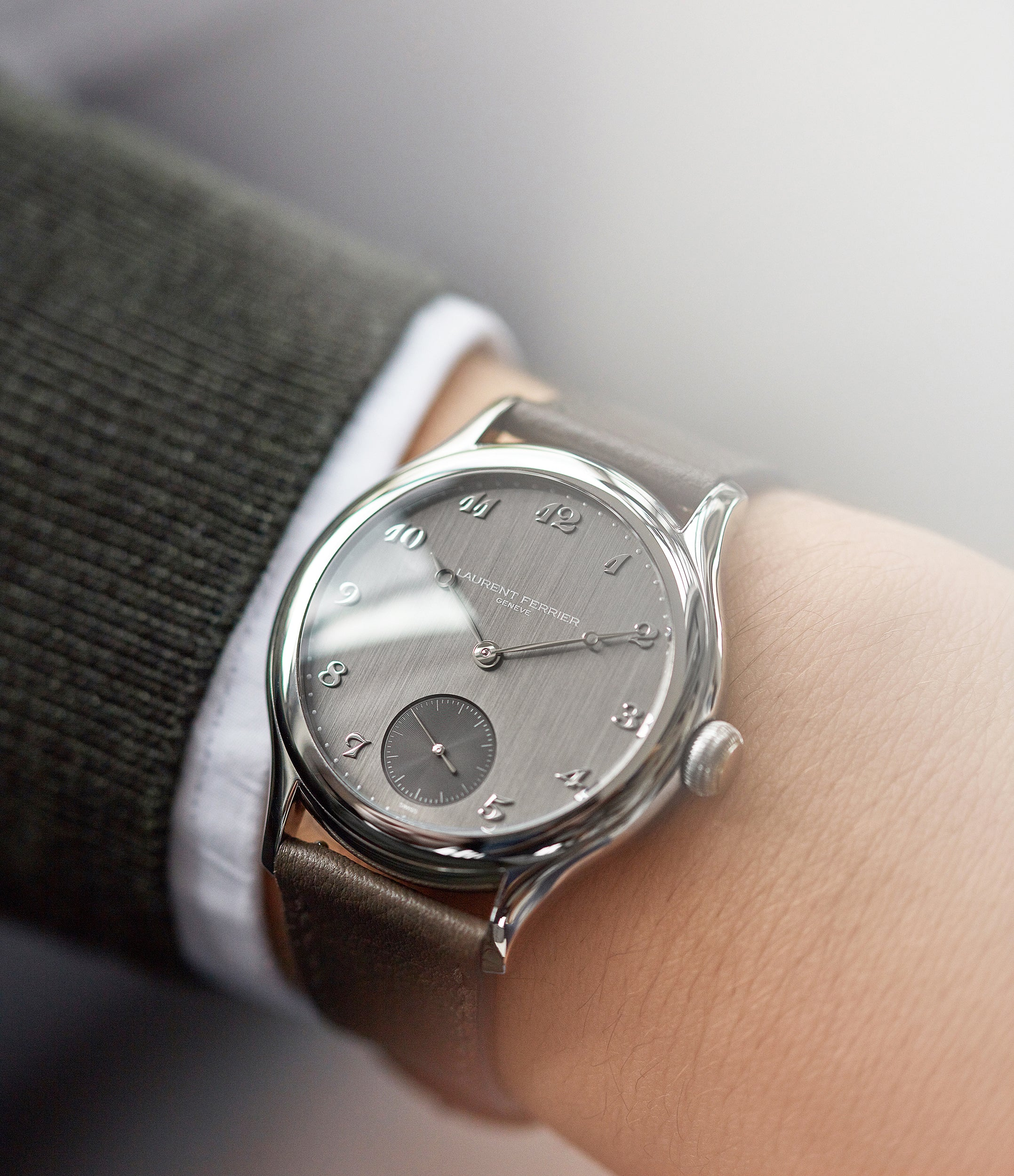 wristwatch Laurent Ferrier Galet Micro-rotor steel grey brushed dial time-only dress watch for sale online at A Collected Man London UK specialist of independent watchmakers