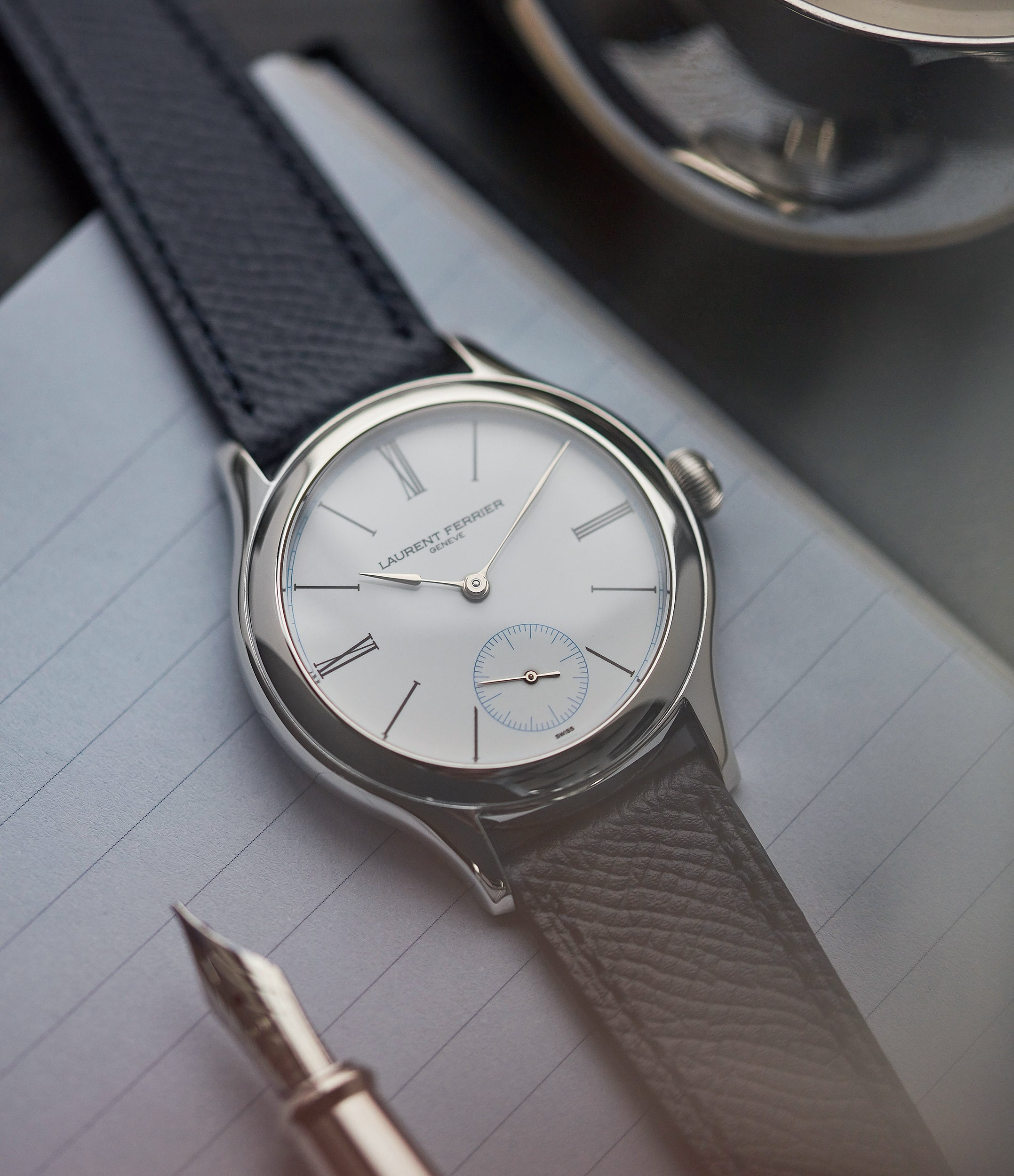 selling Laurent Ferrier Galet Micro-rotor platinum white enamel dial limited edition dress watch sale A Collected Man London UK specialist of independent watchmakers