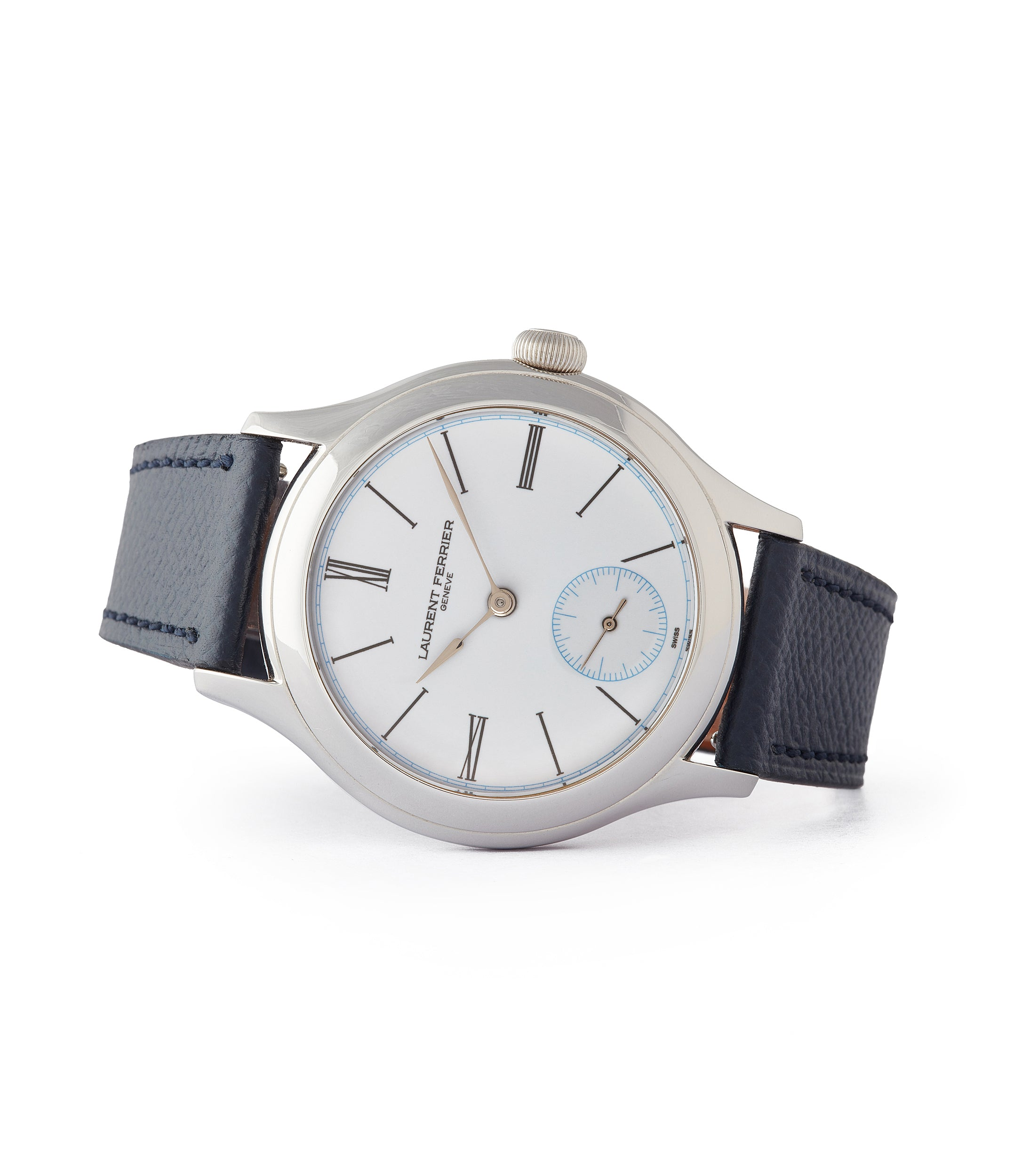 side-shot Galet Micro-rotor Laurent Ferrier platinum white enamel dial limited edition dress watch sale A Collected Man London UK specialist of independent watchmakers