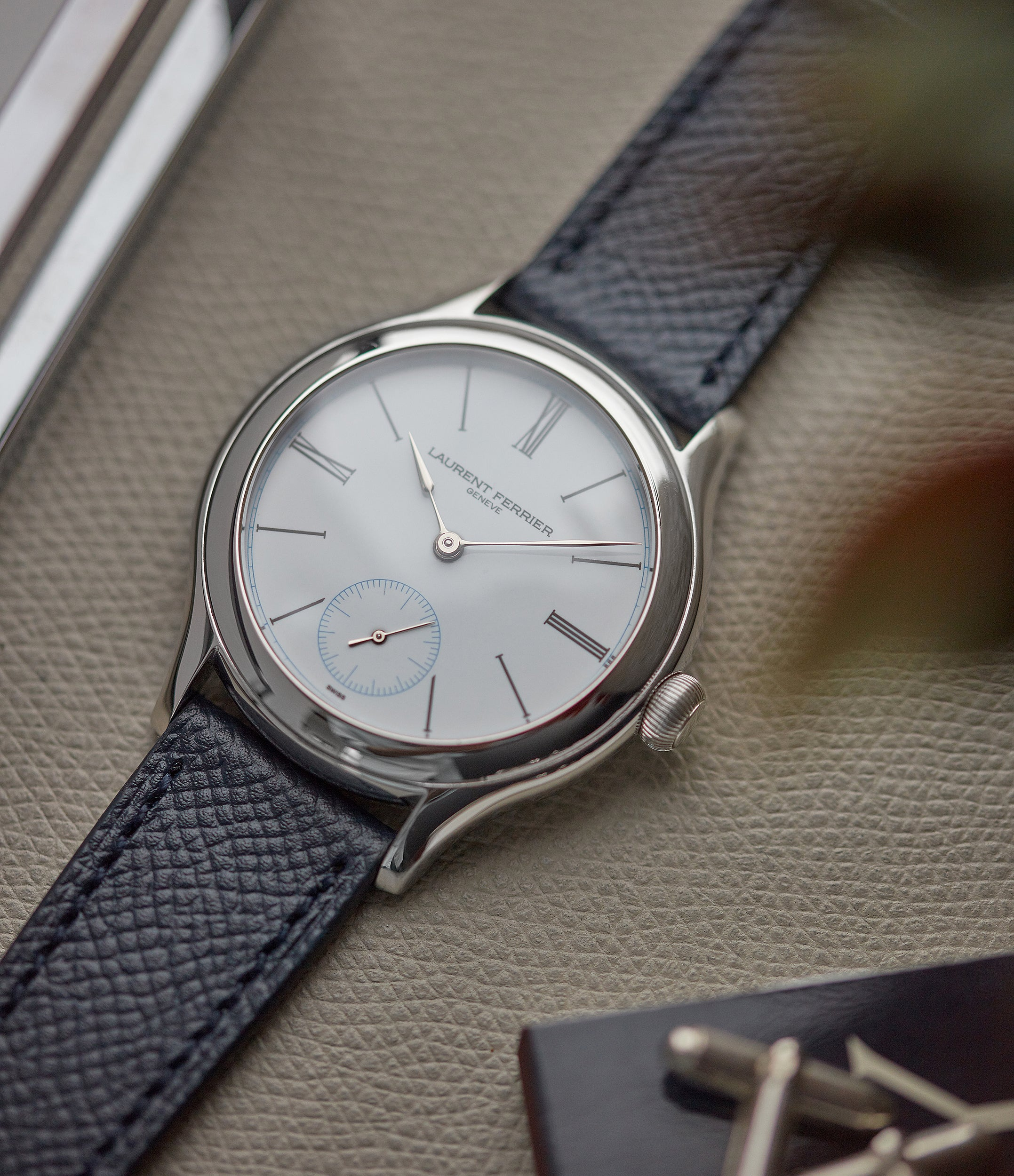 pre-owned Laurent Ferrier Galet Micro-rotor platinum white enamel dial limited edition dress watch sale A Collected Man London UK specialist of independent watchmakers