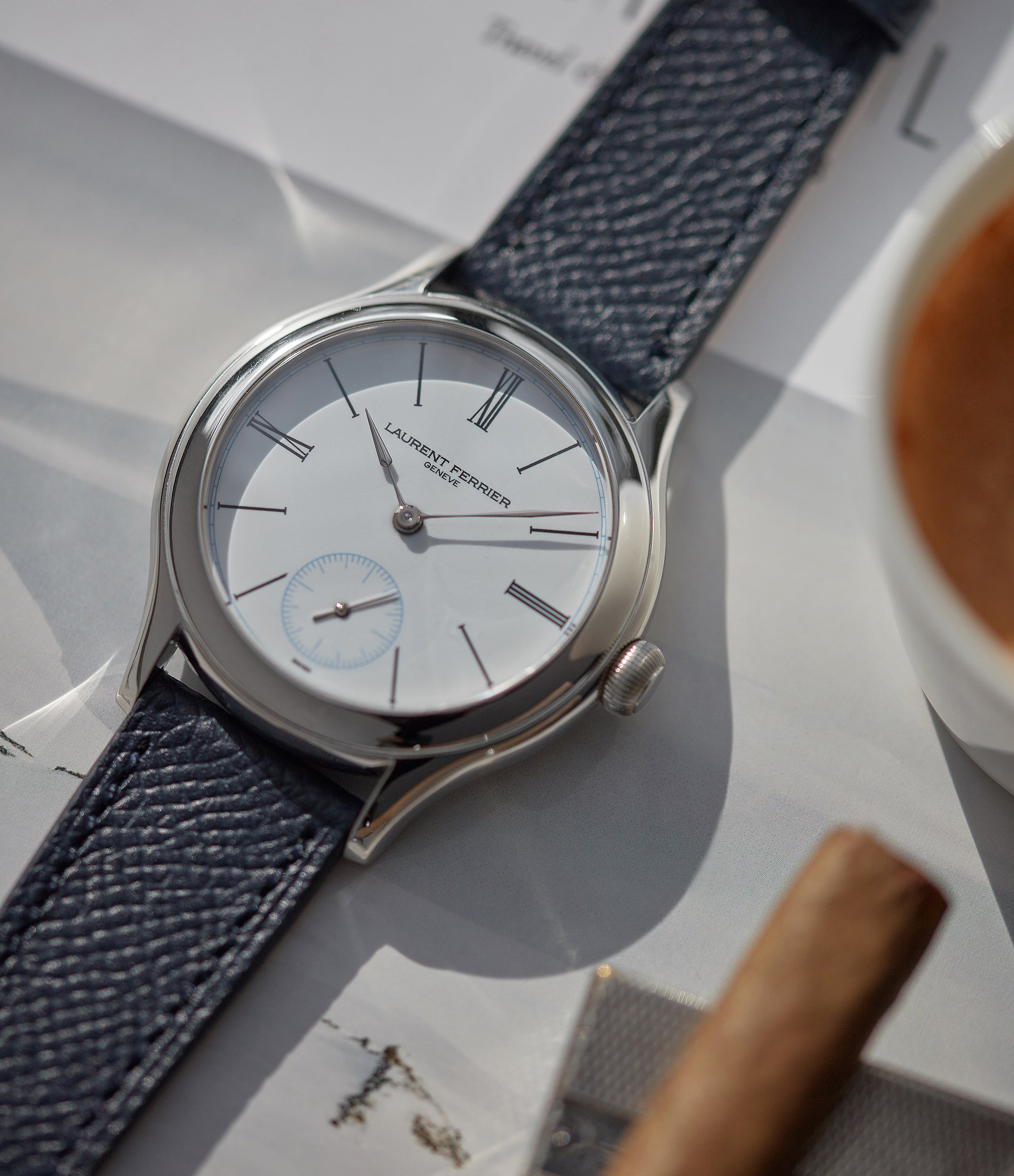 Limited Edition Laurent Ferrier Galet Micro-rotor platinum white enamel dial dress watch sale A Collected Man London UK specialist of independent watchmakers