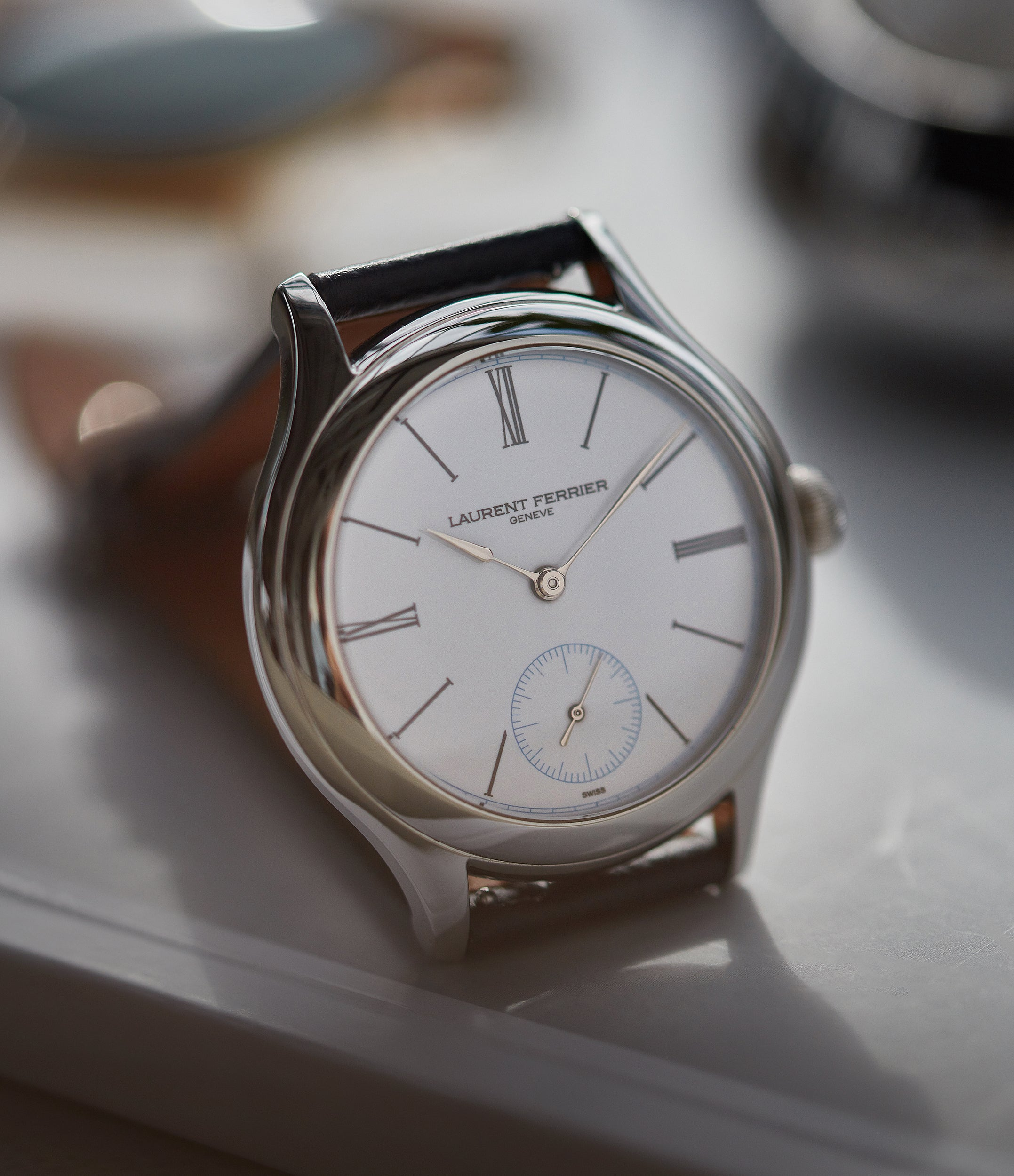 white enamel dial Laurent Ferrier Galet Micro-rotor platinum limited edition dress watch sale A Collected Man London UK specialist of independent watchmakers