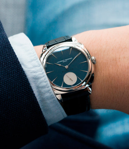 on the wrist Laurent Ferrier Micro Rotor LF 229.01 Galet Square William&Son blue dial white gold watch online at A Collected Man London approved seller of preowned independent watchmakers
