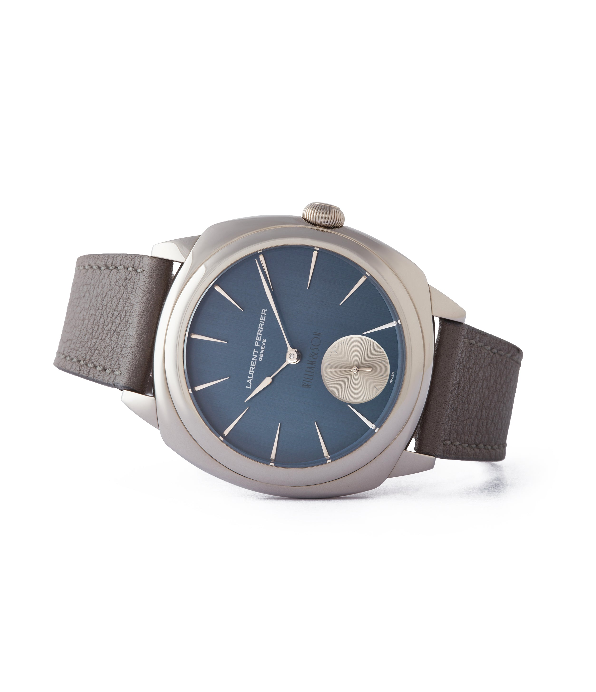 side-shot wirstwatch Laurent Ferrier Micro Rotor LF 229.01 Galet Square William&Son blue dial white gold watch online at A Collected Man London approved seller of preowned independent watchmakers