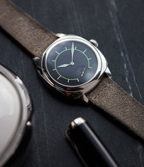 steel luxury dress watch Laurent Ferrier Galet Square Boreal Micro-rotor steel sector dial watch by independent watchmaker for sale online at A Collected Man London UK specialist of rare watches