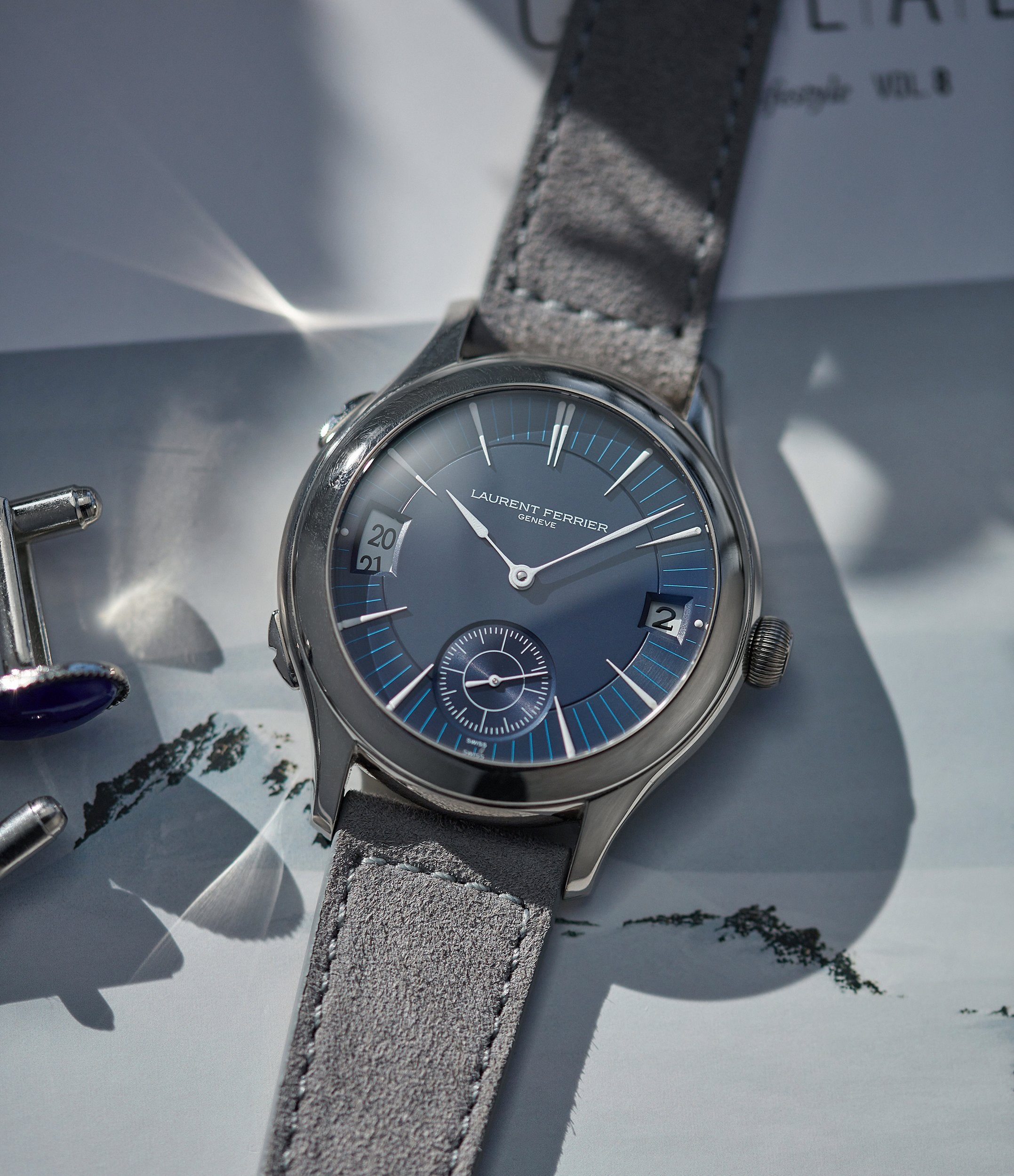 sell Laurent Ferrier Galet Traveller Micro-rotor blue dial pre-owned watch for sale online A Collected Man London UK specialist independent watchmakers