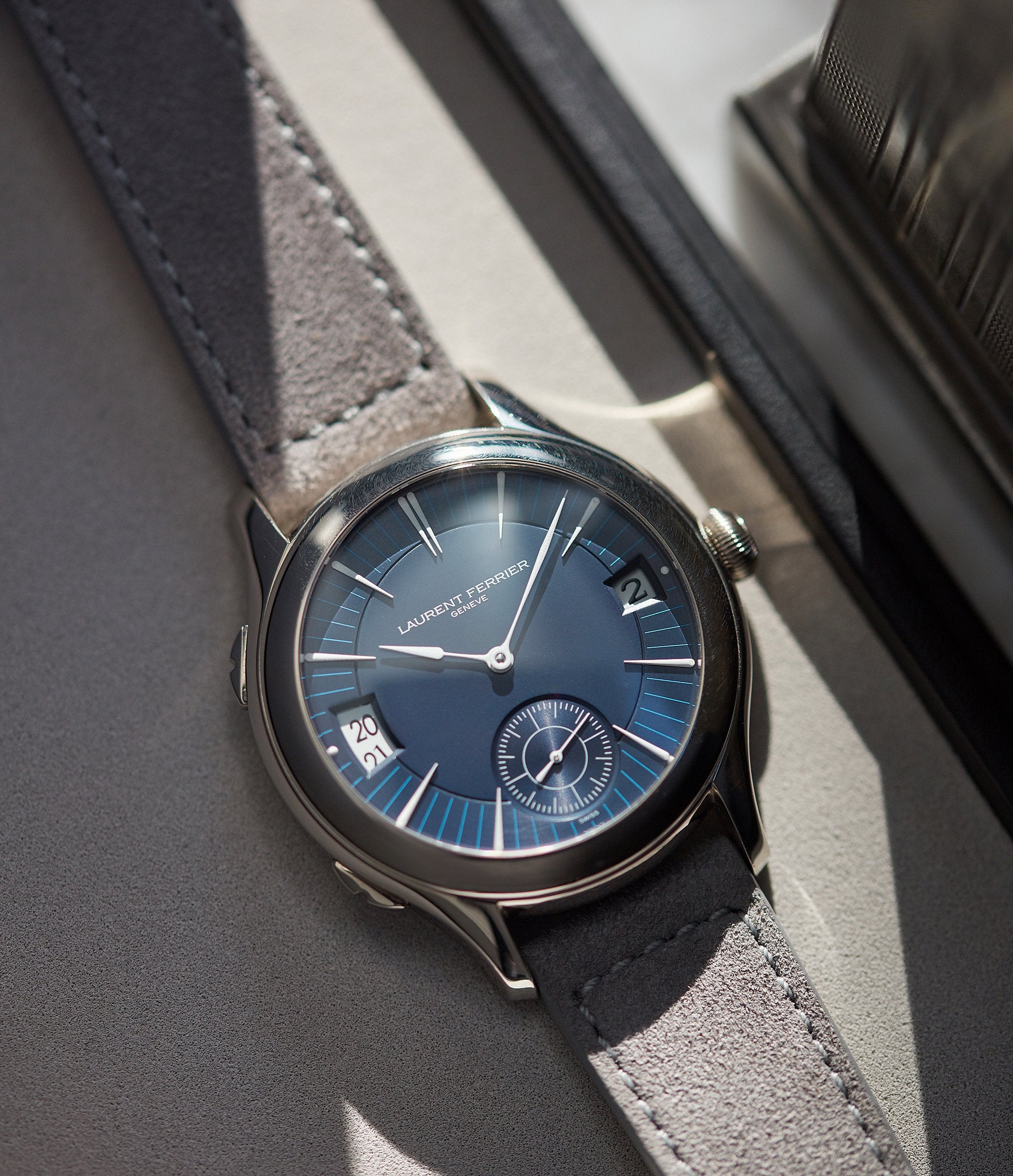 selling Laurent Ferrier Galet Traveller Micro-rotor blue dial pre-owned watch for sale online A Collected Man London UK specialist independent watchmakers