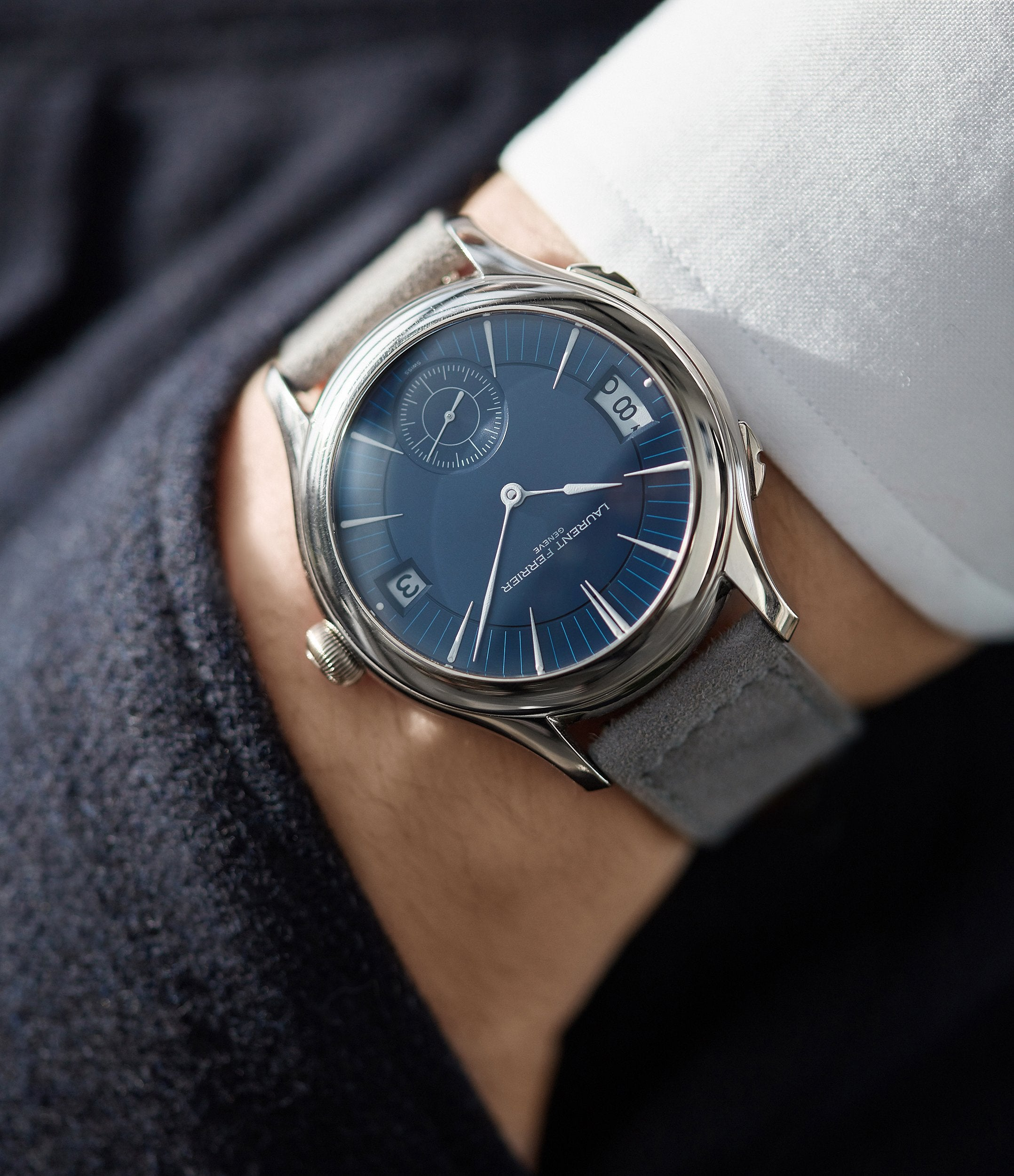men's blue dial wristwatch Laurent Ferrier Galet Traveller Micro-rotor pre-owned watch for sale online A Collected Man London UK specialist independent watchmakers