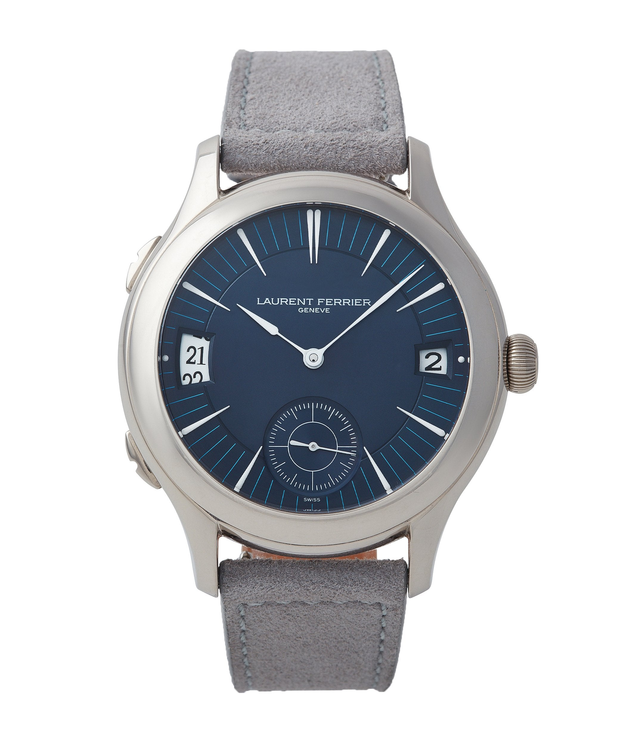 second-hand Laurent Ferrier Galet Traveller Micro-rotor blue dial pre-owned watch for sale online A Collected Man London UK specialist independent watchmakers