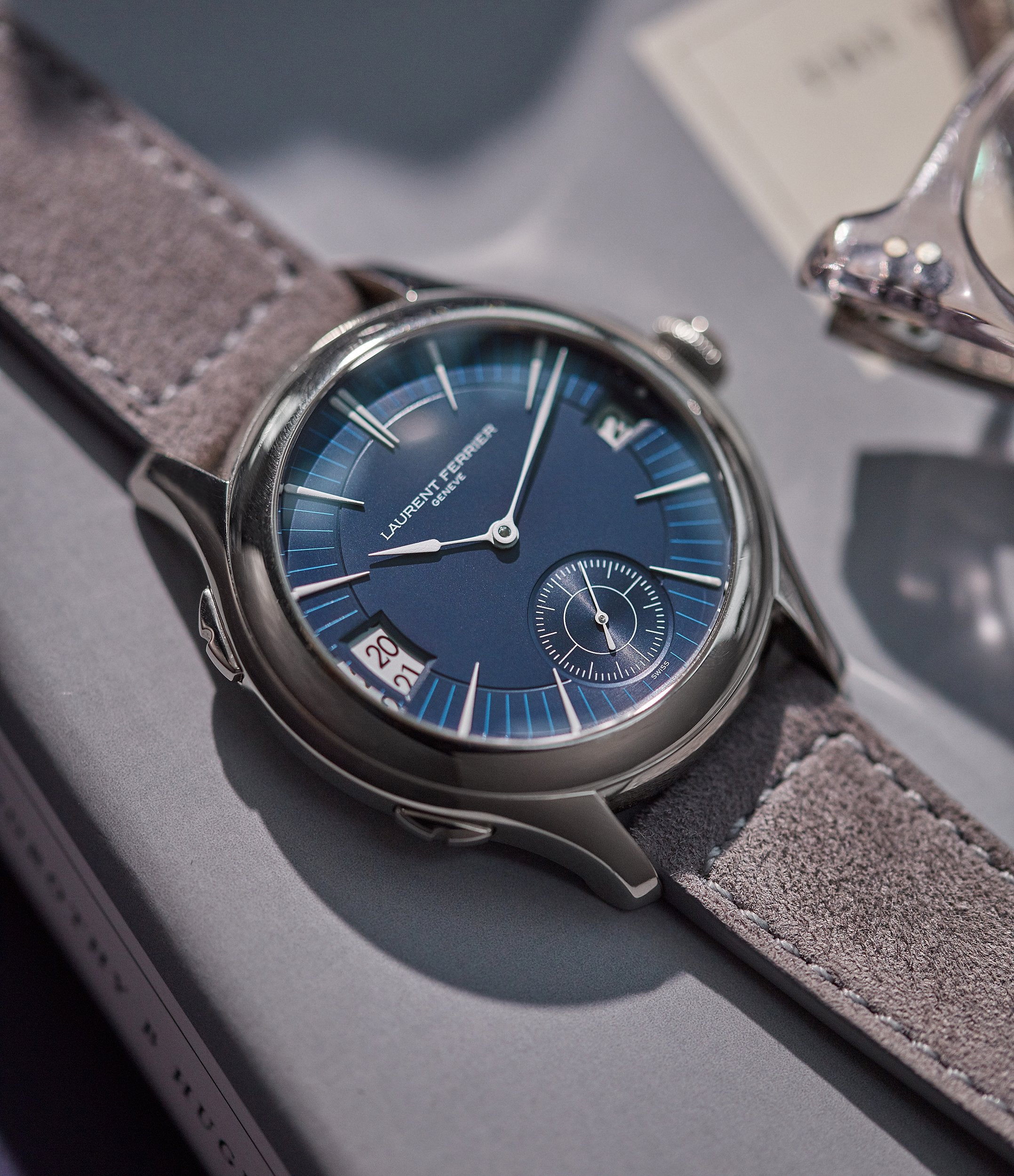 blue dial Laurent Ferrier Galet Traveller Micro-rotor pre-owned watch for sale online A Collected Man London UK specialist independent watchmakers