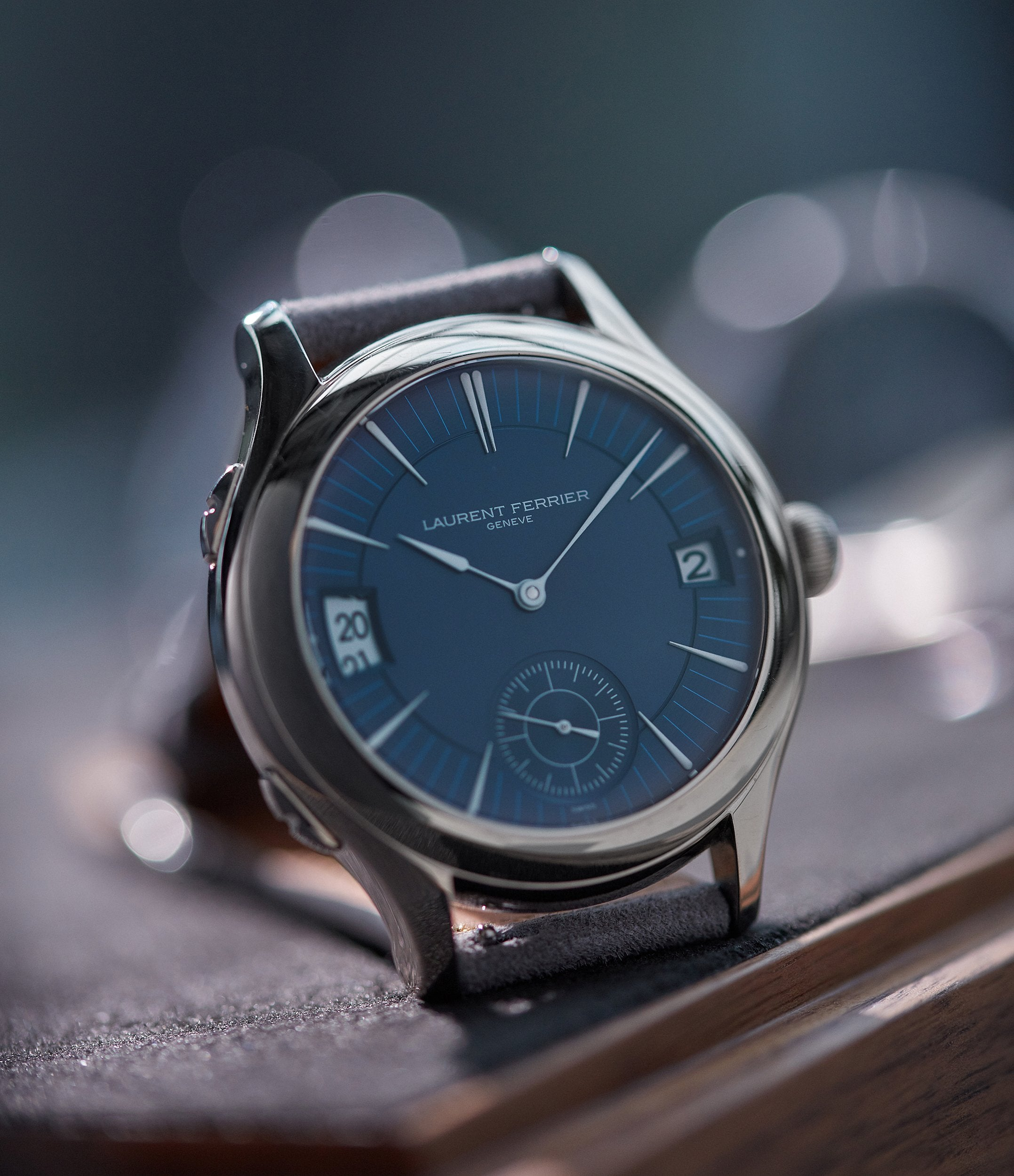 rare Laurent Ferrier Galet Traveller Micro-rotor blue dial pre-owned watch for sale online A Collected Man London UK specialist independent watchmakers