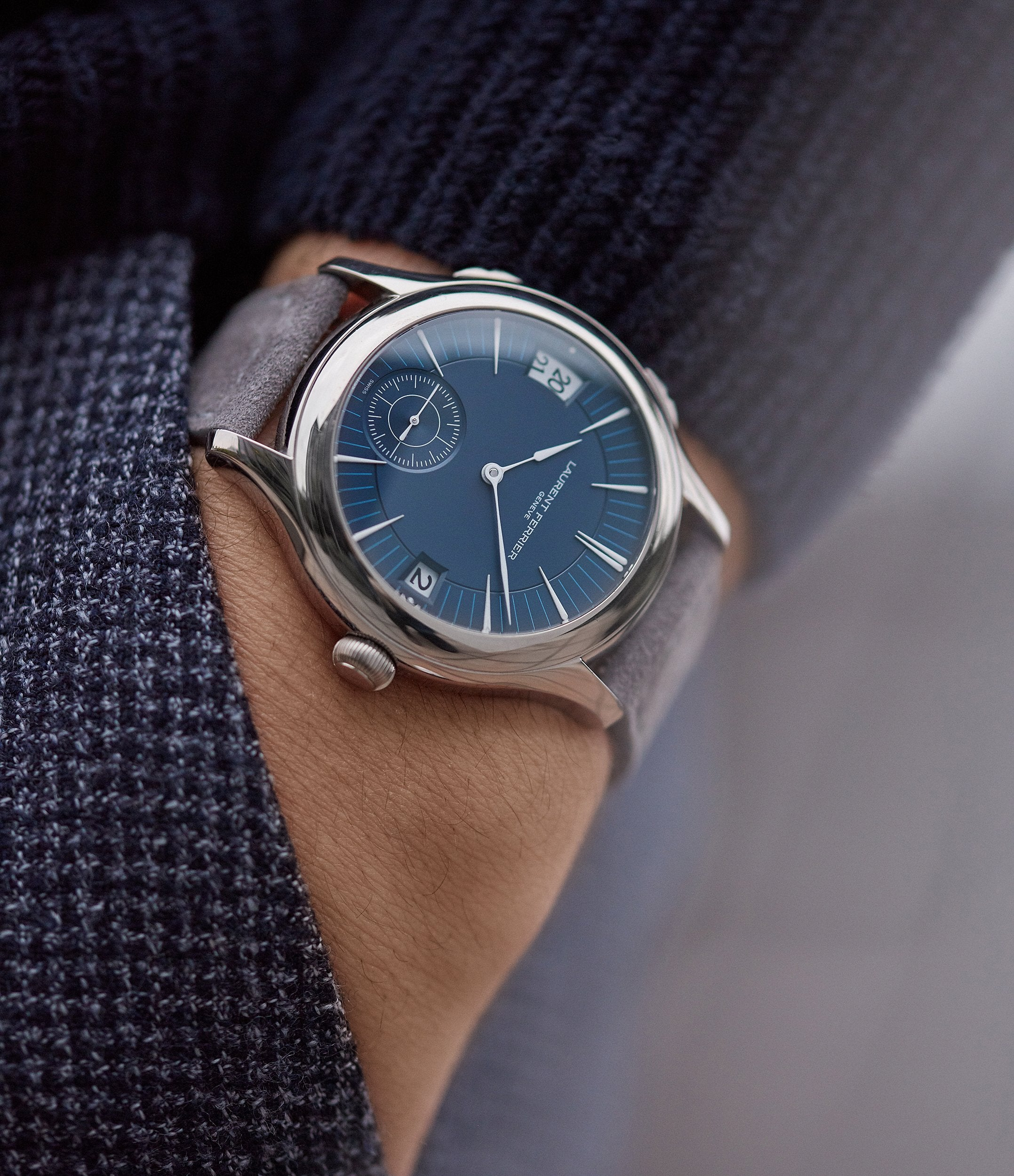 men's luxury wristwatch Laurent Ferrier Galet Traveller Micro-rotor blue dial pre-owned watch for sale online A Collected Man London UK specialist independent watchmakers