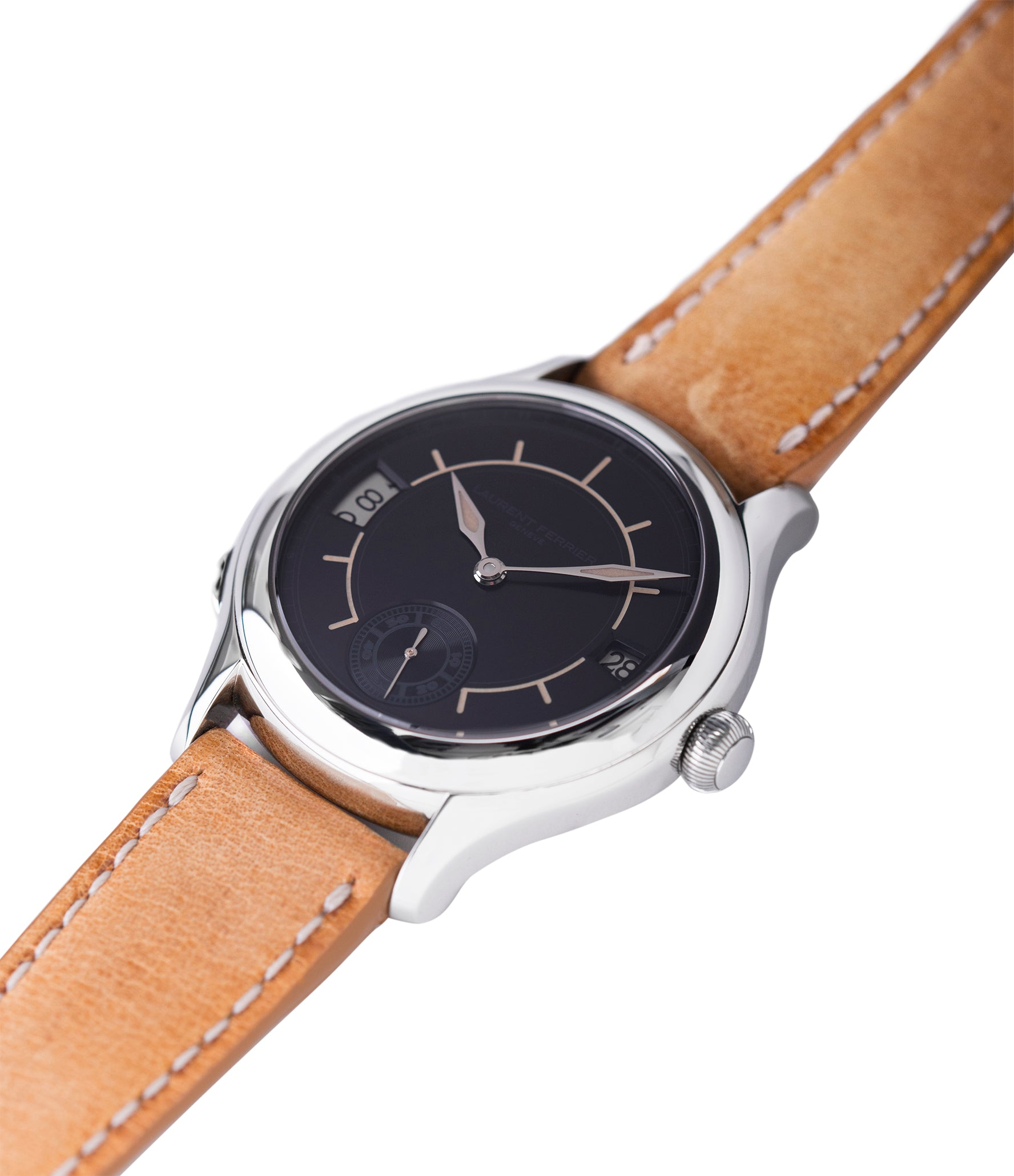 selling preowned Laurent Ferrier Galet Traveller Boreal steel dual-timezone black dial dress watch for sale online at A Collected Man London approved seller of pre-owned Laurent Ferrier independent watchmakers