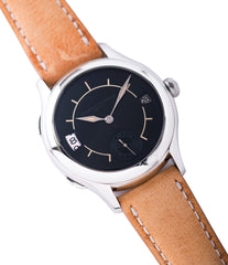 shop Laurent Ferrier Galet Traveller Boreal steel dual-timezone black dial dress watch for sale online at A Collected Man London approved seller of pre-owned Laurent Ferrier independent watchmakers