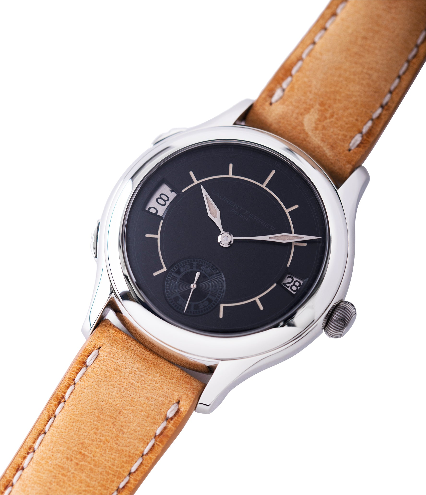 for sale preowned Laurent Ferrier Galet Traveller Boreal steel dual-timezone black dial dress watch for sale online at A Collected Man London approved seller of pre-owned Laurent Ferrier independent watchmakers