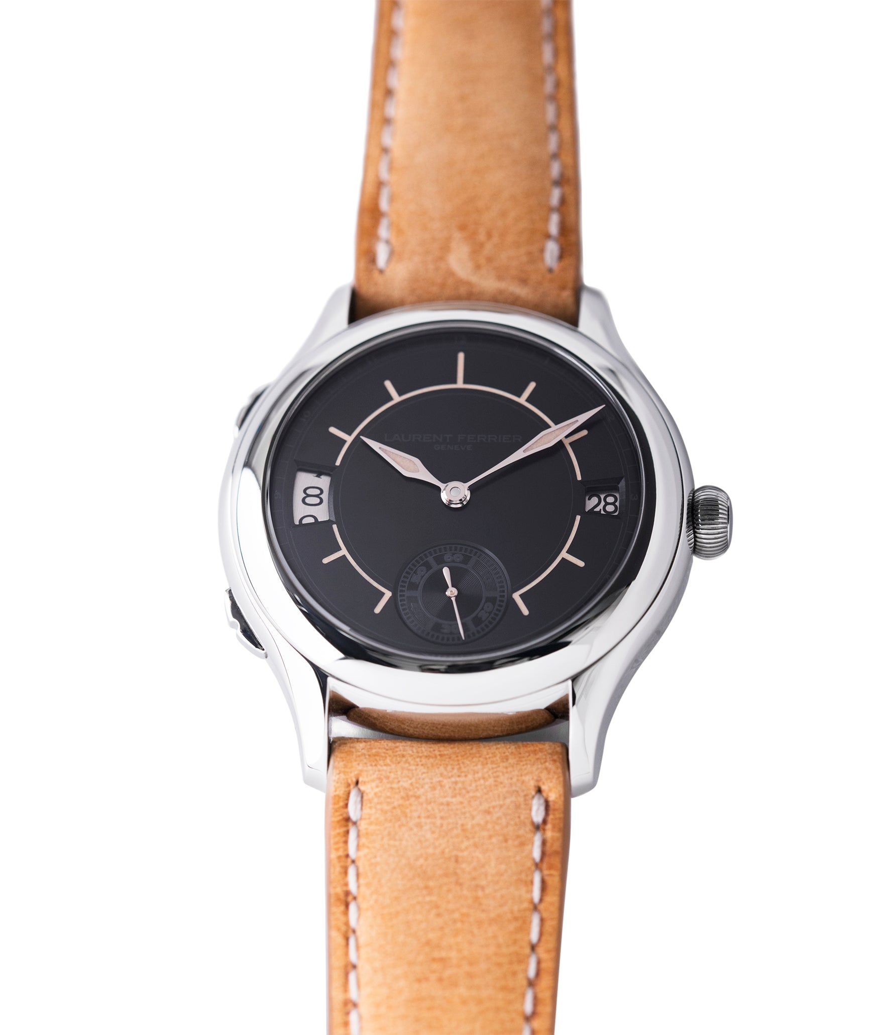 preowned Laurent Ferrier Galet Traveller Boreal steel dual-timezone black dial dress watch for sale online at A Collected Man London approved seller of pre-owned Laurent Ferrier independent watchmakers
