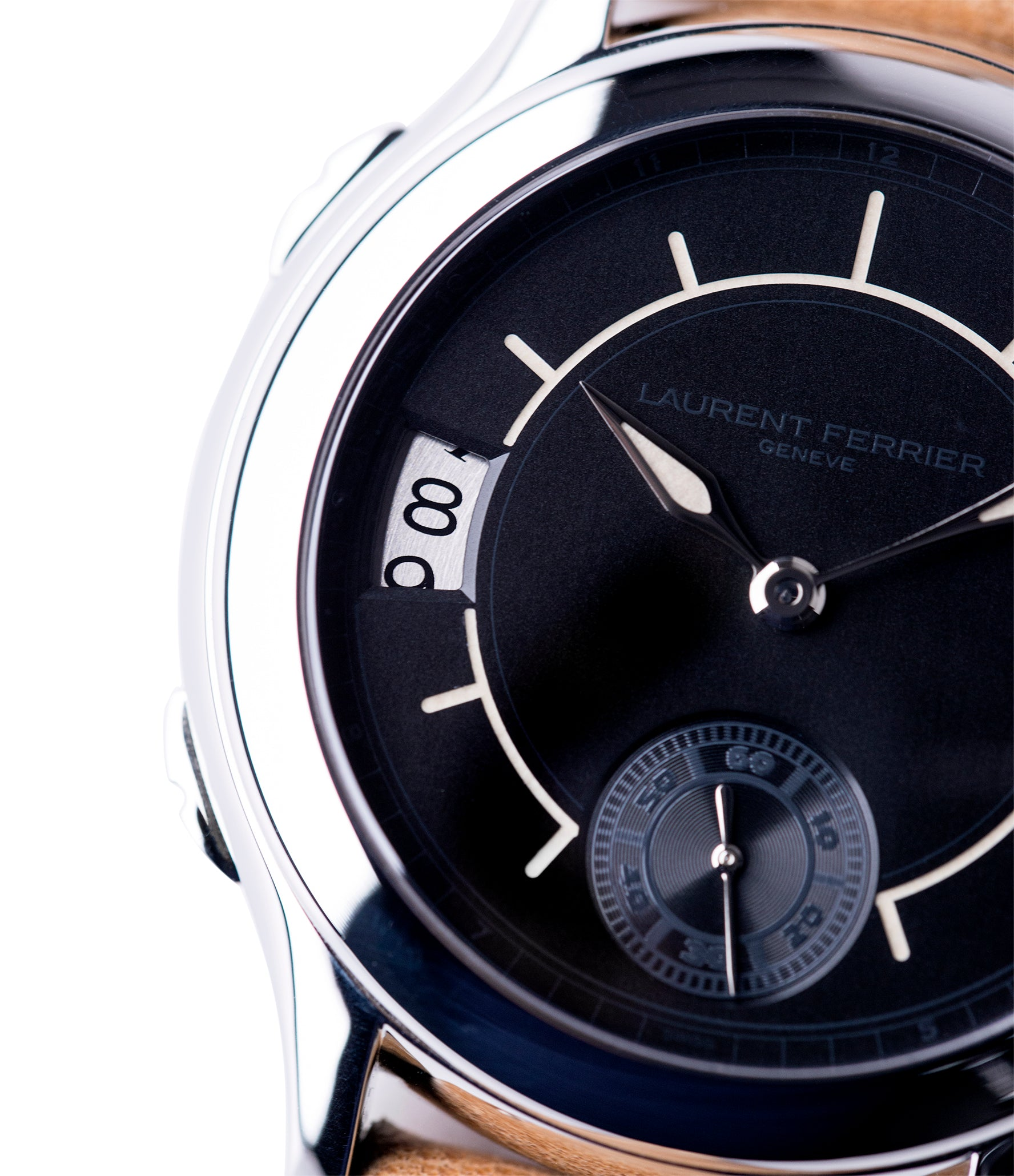 sector dial Laurent Ferrier Galet Traveller Boreal steel dual-timezone black dial dress watch for sale online at A Collected Man London approved seller of pre-owned Laurent Ferrier independent watchmakers