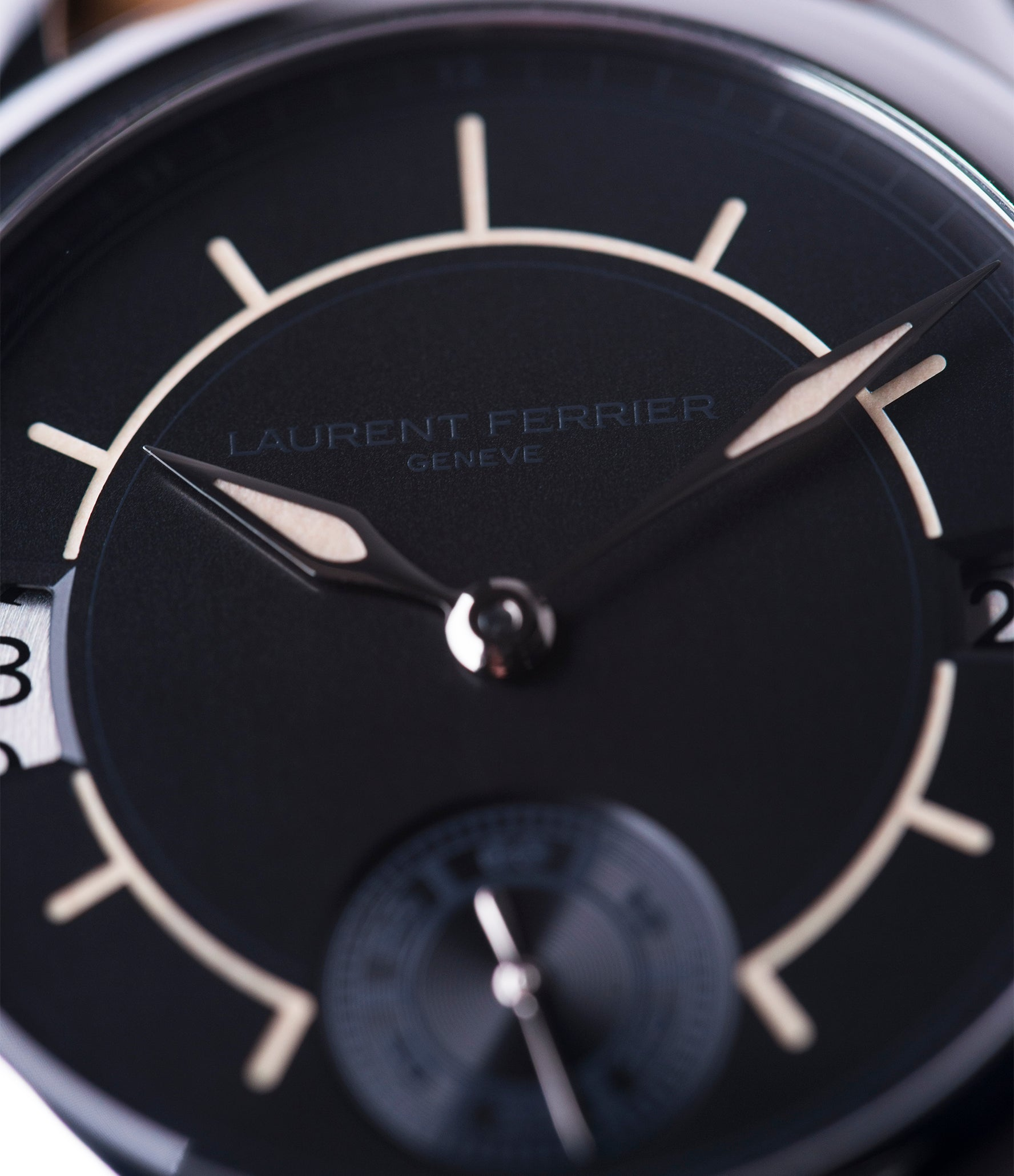 black dial Laurent Ferrier Galet Traveller Boreal steel dual-timezone black dial dress watch for sale online at A Collected Man London approved seller of pre-owned Laurent Ferrier independent watchmakers