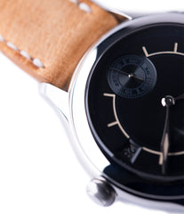 dual time zone traveller Laurent Ferrier Galet Boreal steel dual-timezone black dial dress watch for sale online at A Collected Man London approved seller of pre-owned Laurent Ferrier independent watchmakers
