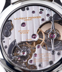 automatic Laurent Ferrier Galet Traveller Boreal steel dual-timezone black dial dress watch for sale online at A Collected Man London approved seller of pre-owned Laurent Ferrier independent watchmakers