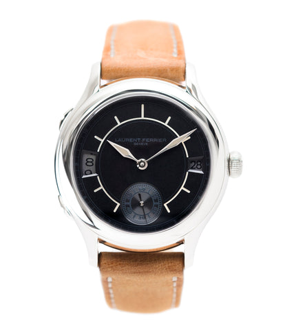 buy Laurent Ferrier Galet Traveller Boreal steel dual-timezone black dial dress watch for sale online at A Collected Man London approved seller of pre-owned Laurent Ferrier independent watchmakers