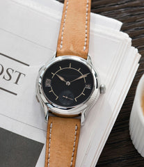 selling Laurent Ferrier Galet Traveller Boreal steel dual-timezone black dial dress watch for sale online at A Collected Man London approved seller of pre-owned Laurent Ferrier independent watchmakers