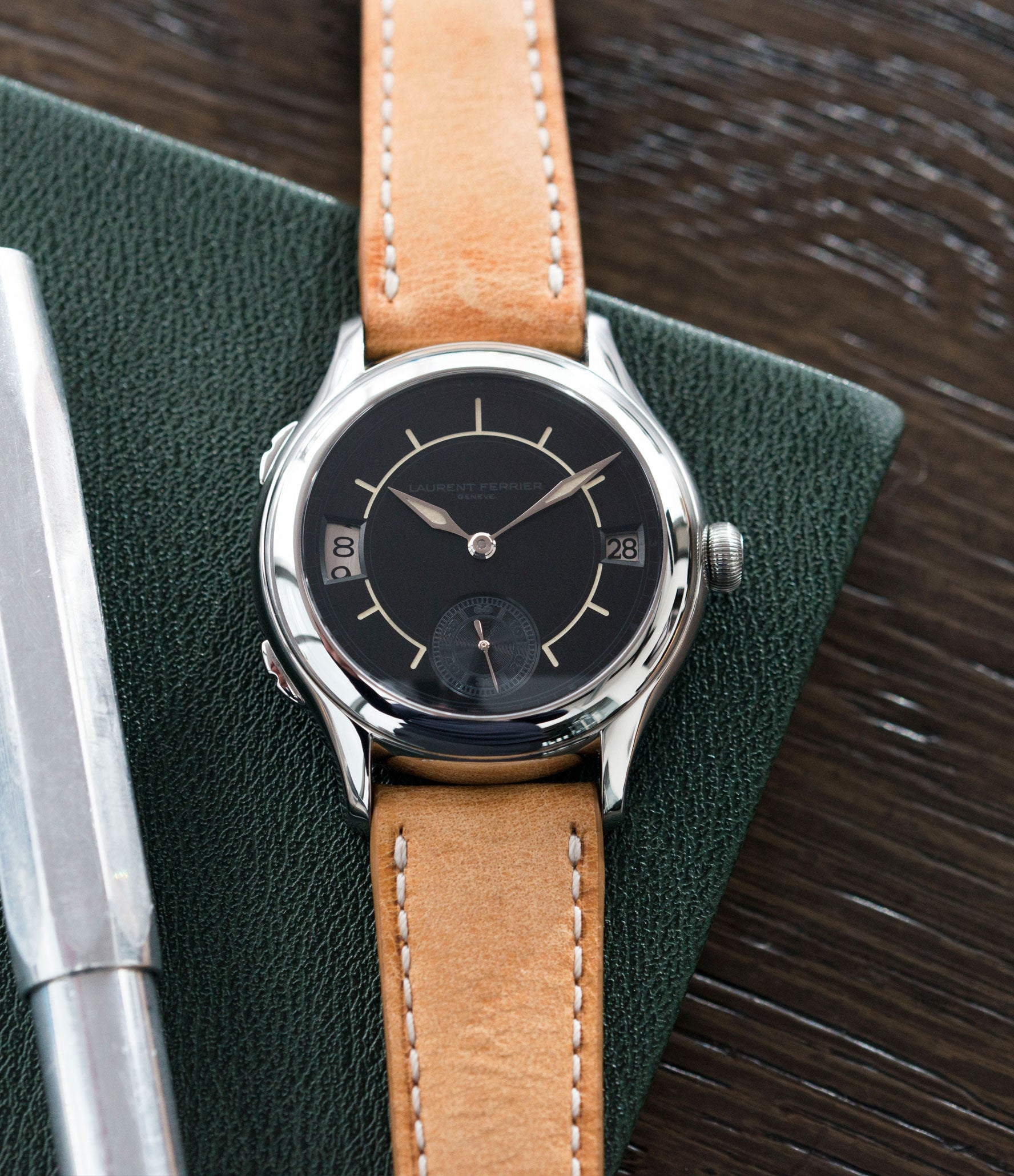 for sale Laurent Ferrier Galet Traveller Boreal steel dual-timezone black dial dress watch for sale online at A Collected Man London approved seller of pre-owned Laurent Ferrier independent watchmakers