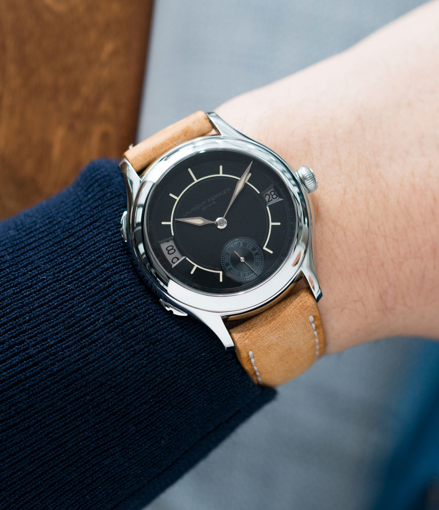 on the wrist Laurent Ferrier Galet Traveller Boreal steel dual-timezone black dial dress watch for sale online at A Collected Man London approved seller of pre-owned Laurent Ferrier independent watchmakers