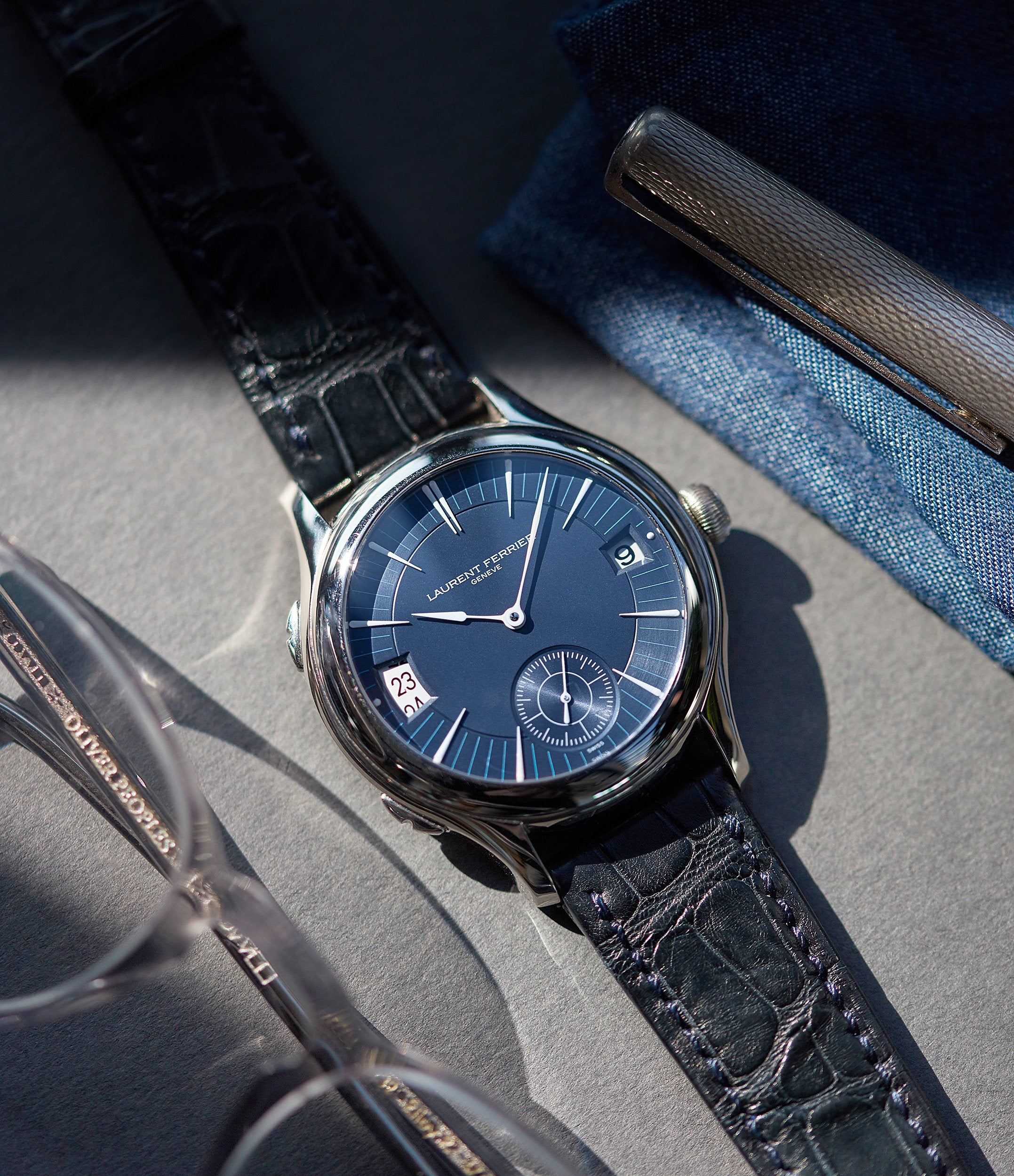 Traveller watch Laurent Ferrier Galet Micro-rotor blue dial pre-owned watch for sale online A Collected Man London UK specialist independent watchmakers