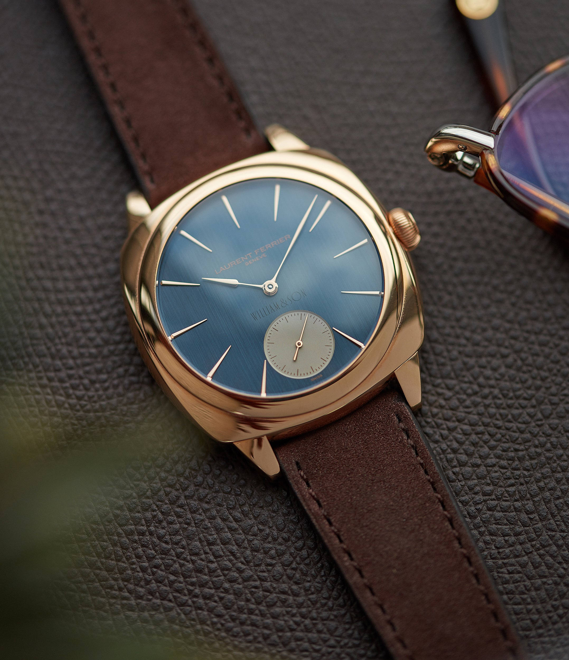 independent watchmaker Laurent Ferrier Galet Square Micro-rotor blue dial by  William & Son rose gold rare luxury dress watch for sale online at A Collected Man London UK specialist and approved reseller of rare independent watchmakers